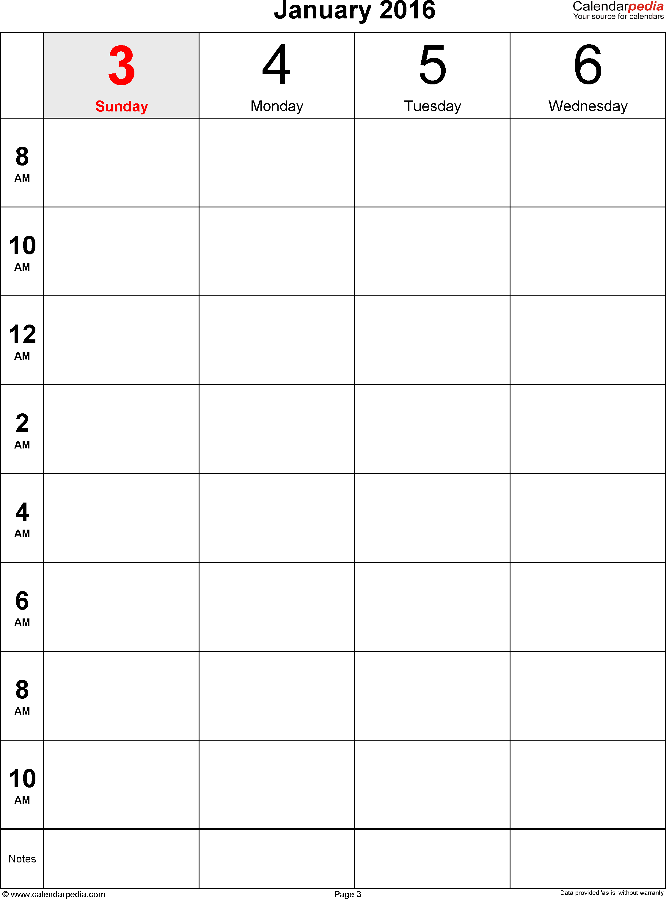 Weekly Calendar 2016 For Pdf - 12 Free Printable Templates intended for Monthly Calendar Printable Template Notes Column