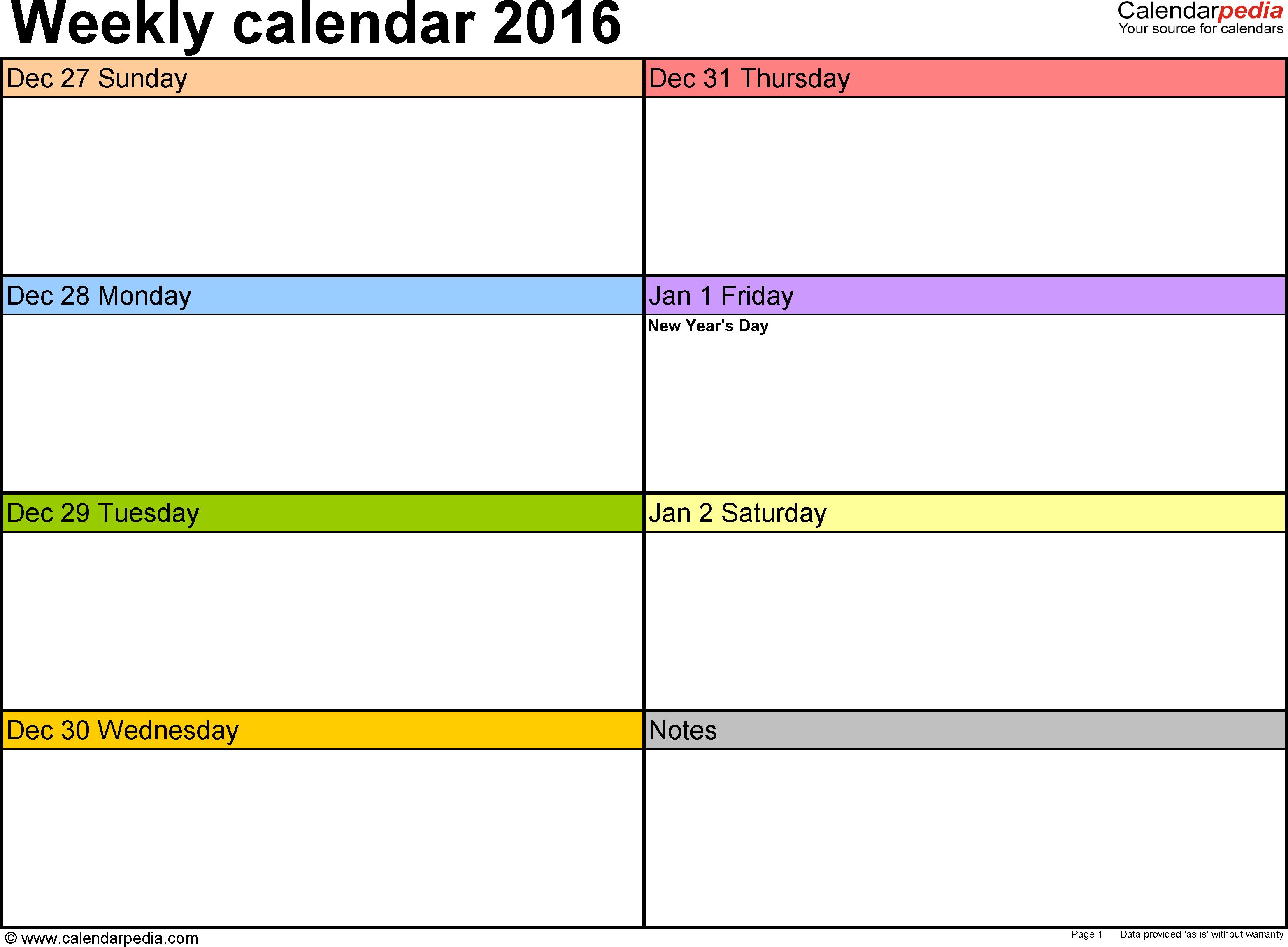 Weekly Calendar 2016 For Word - 12 Free Printable Templates inside Blank Two Week Schedule Template