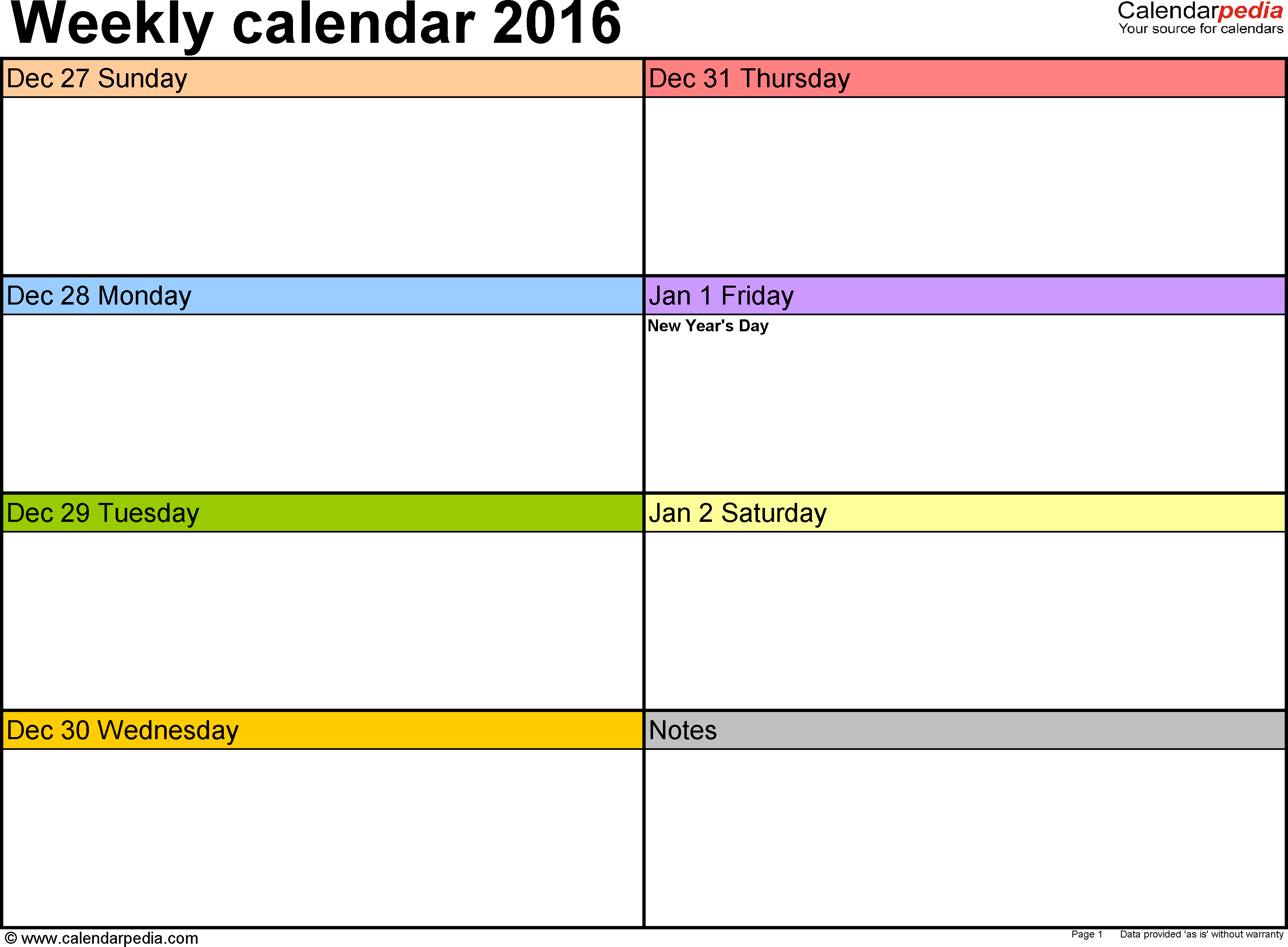 Weekly Calendar 2016 For Word - 12 Free Printable Templates with Empty Calendar Template For Kids