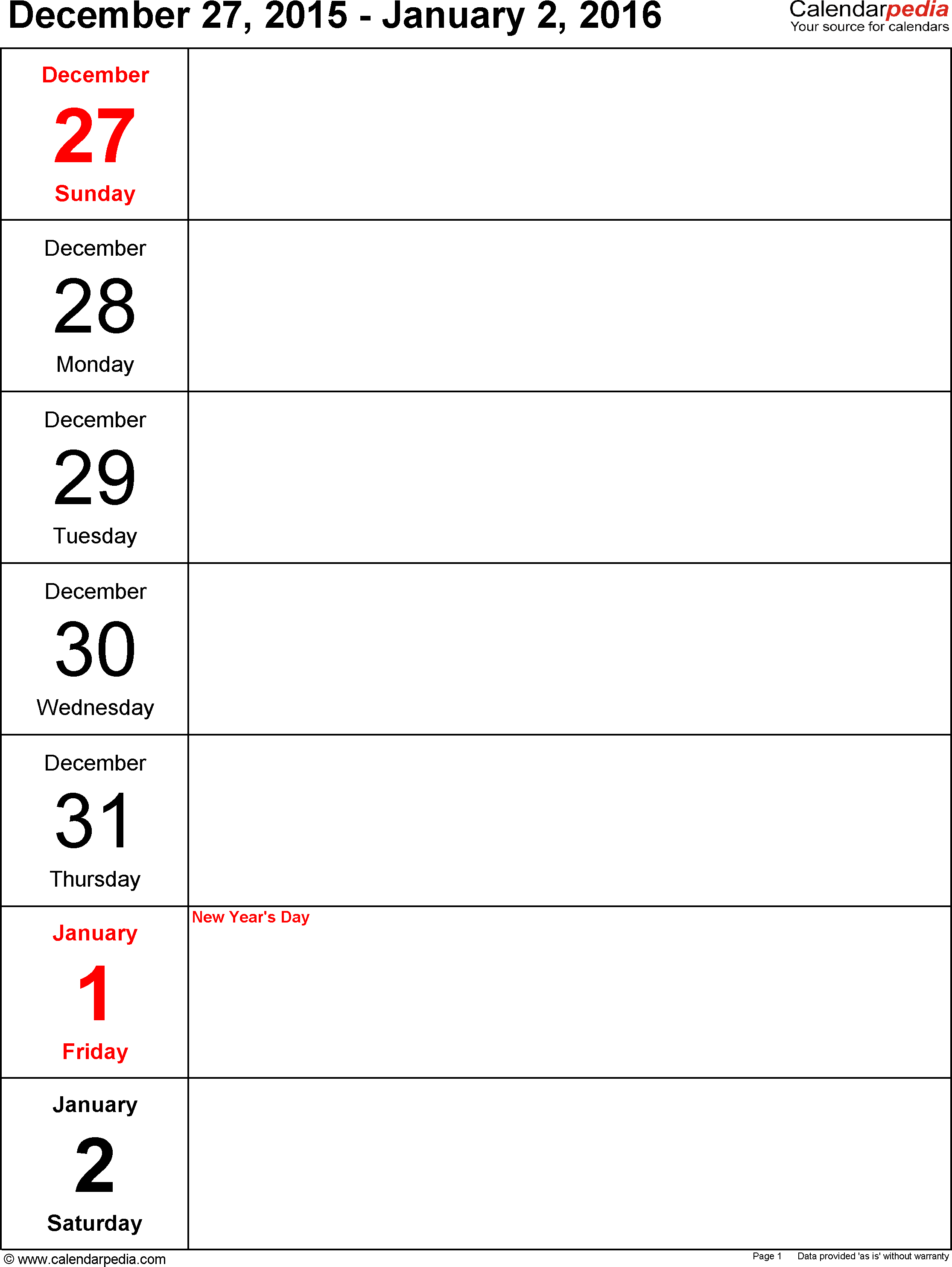 Weekly Calendar 2016: Template For Word Version 10, Portrait, 53 within Excel Weekly Calendar Template