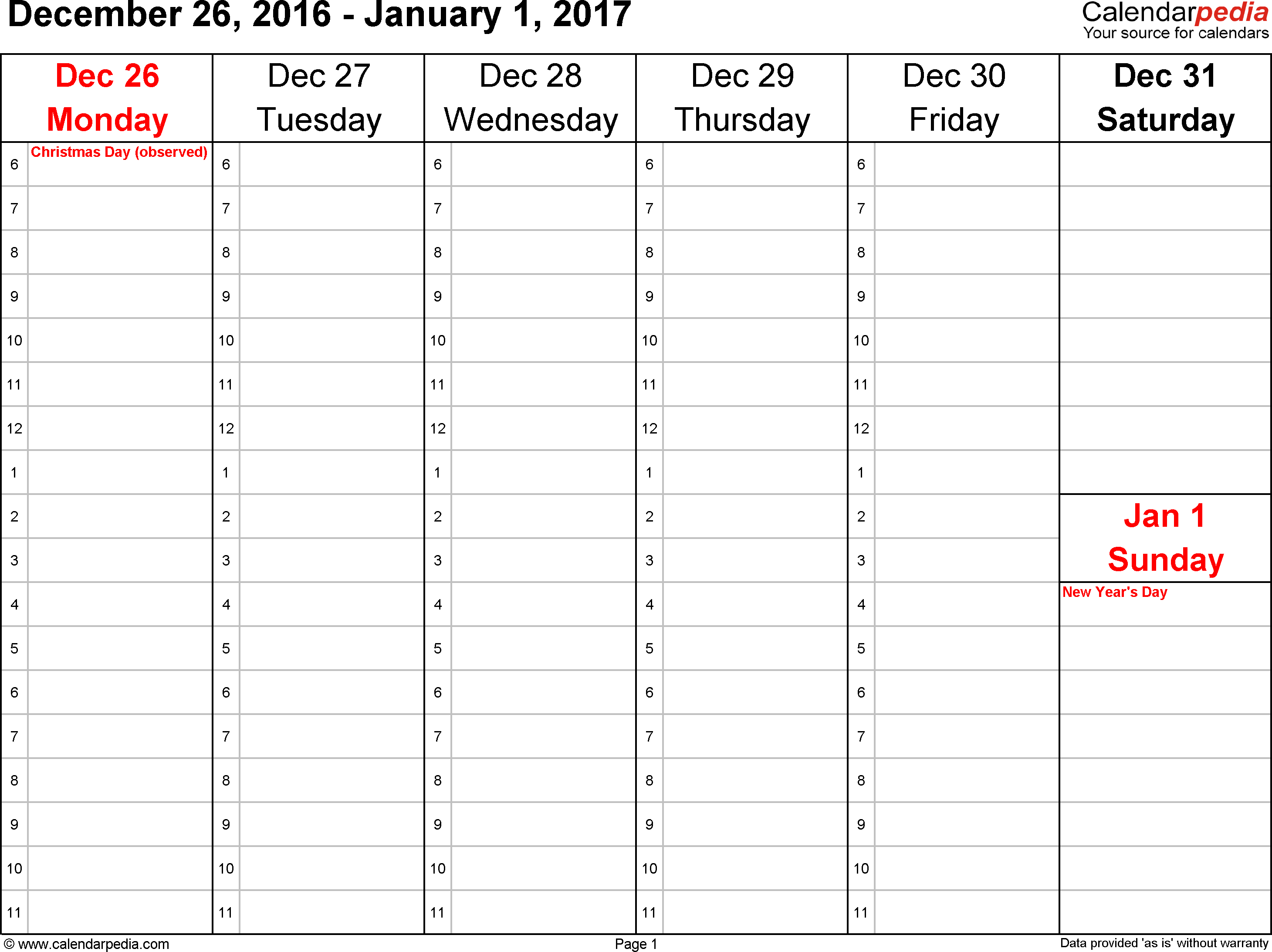 Weekly Calendar 2017 For Excel - 12 Free Printable Templates with Blank December Weekly Calander