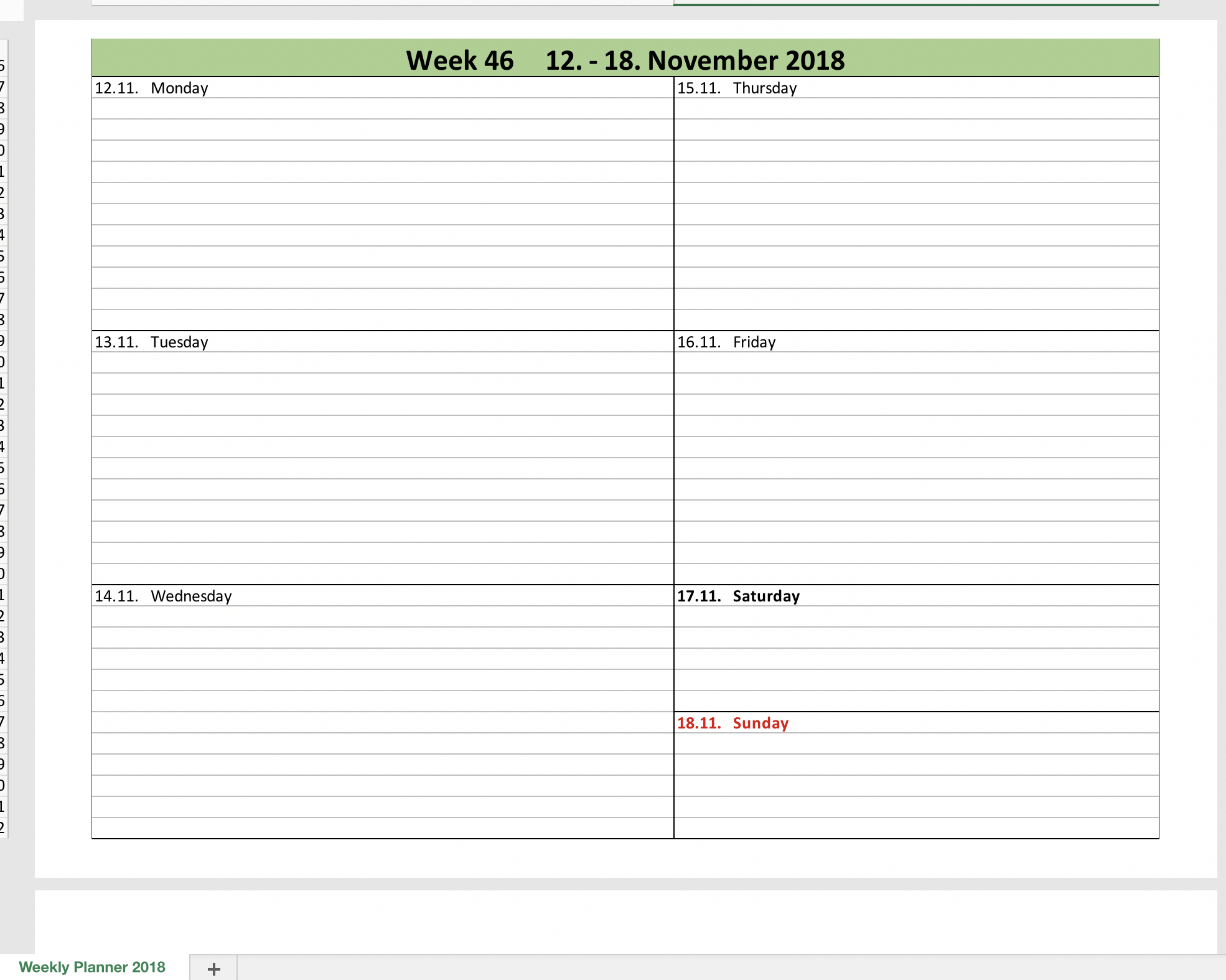 Weekly Calendar 2018 With Excel | Excel Templates For Every Purpose for Excel Calendar Template Weekly