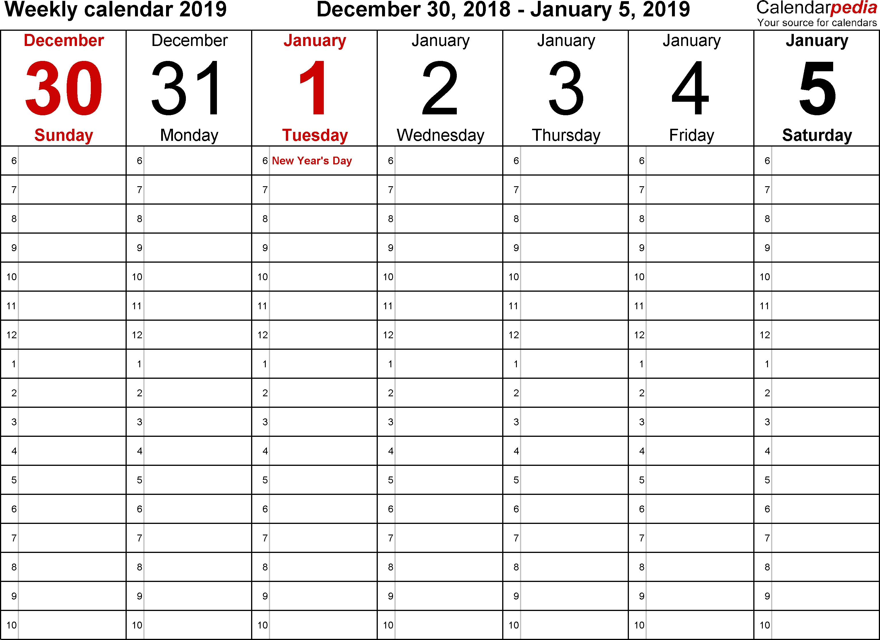 Weekly Calendar 2019 For Word – 12 Free Printable Templates Calendar intended for Blank December Weekly Calander