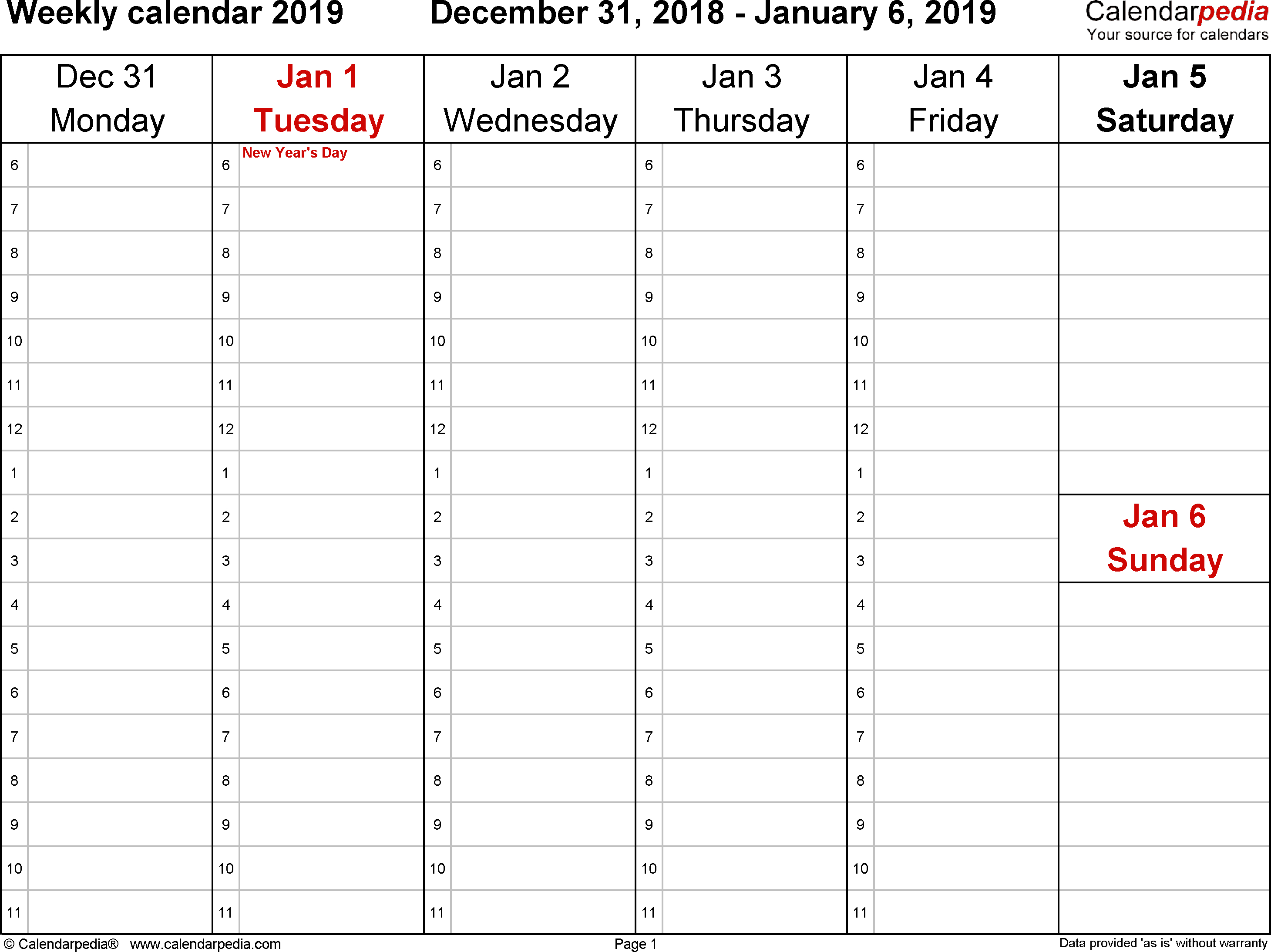 Weekly Calendar 2019 For Word - 12 Free Printable Templates pertaining to Printable Calendar Template Week Day Only