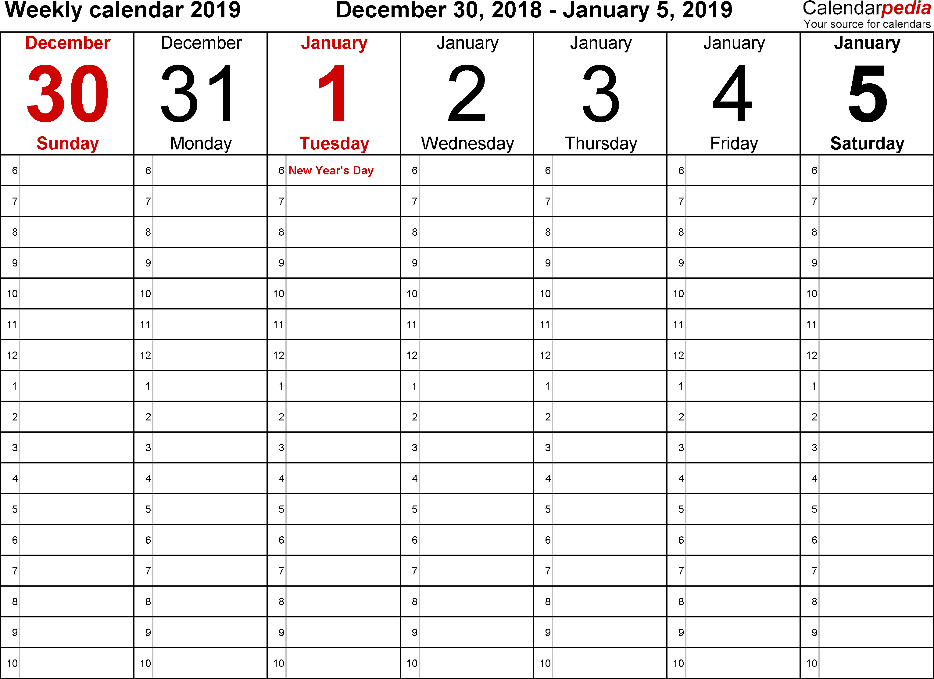 Weekly Calendar 2019 For Word - 12 Free Printable Templates with One Week Calendar Template Printable