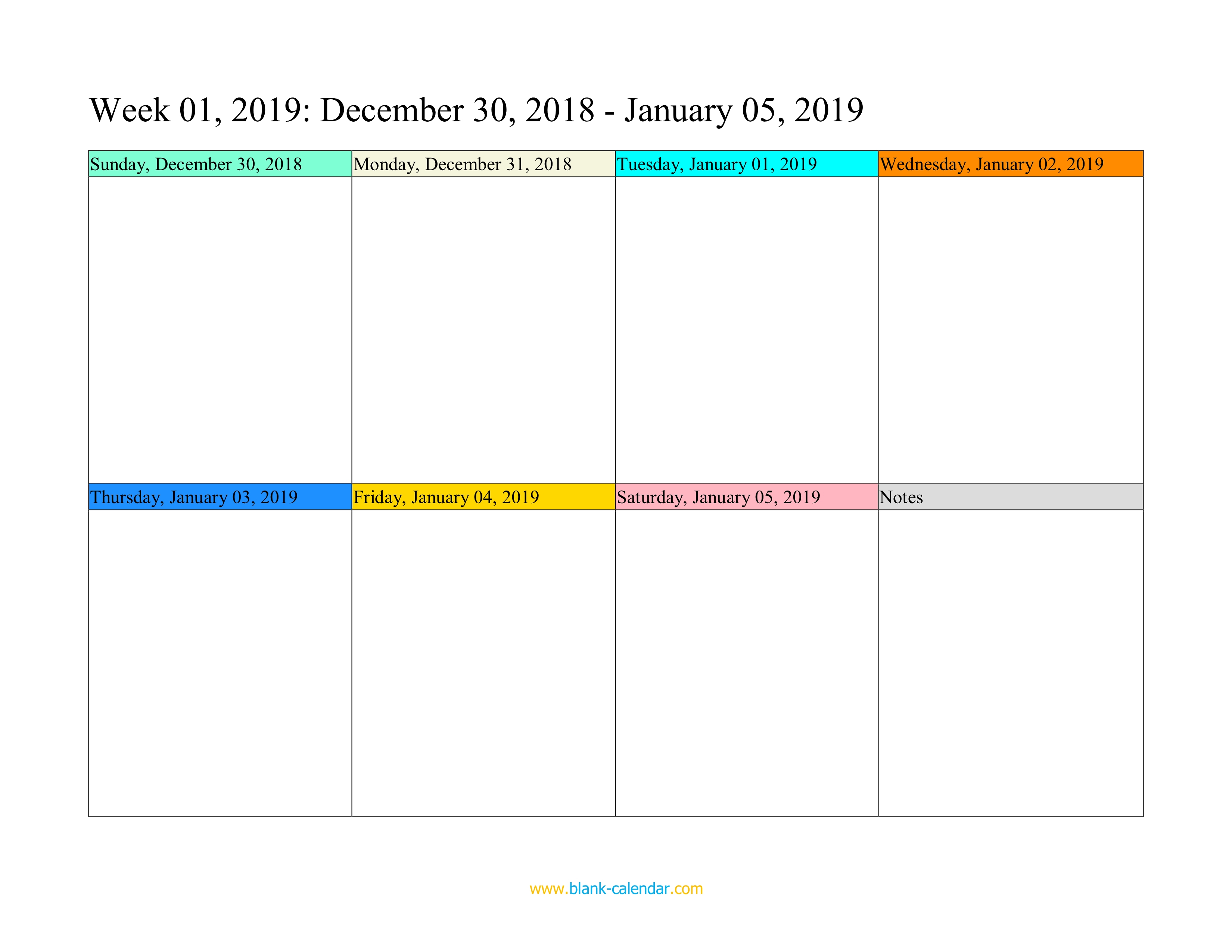 Weekly Calendar 2019 (Word, Excel, Pdf) intended for Blank Calendar Of Events Template