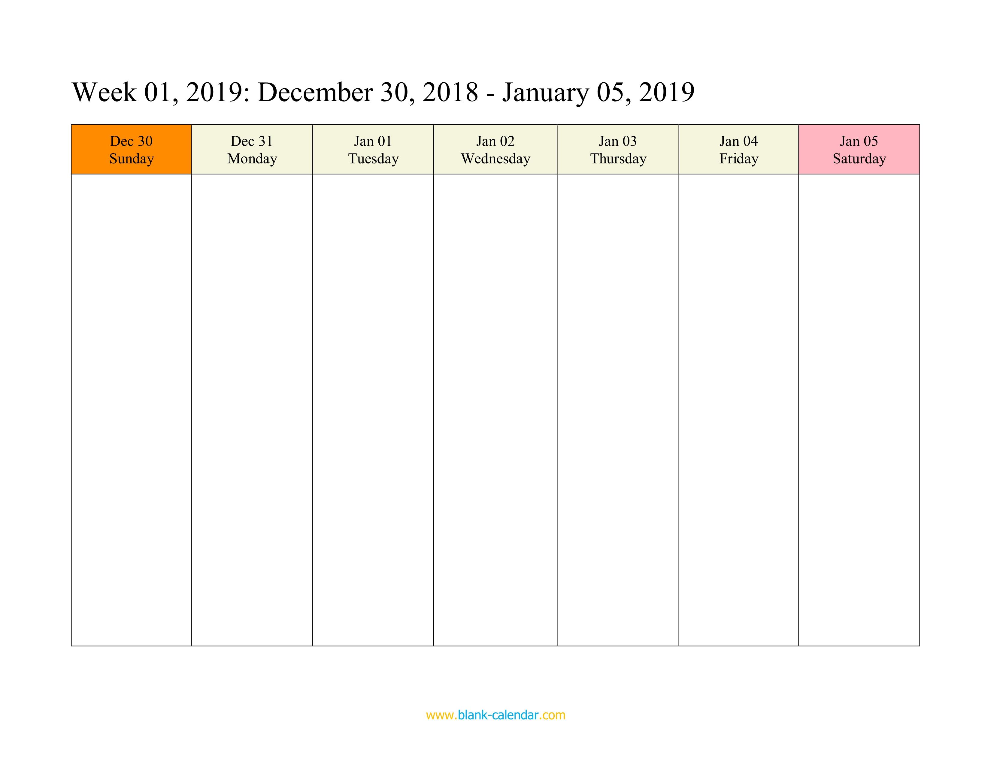 Weekly Calendar 2019 (Word, Excel, Pdf) intended for Printable Blank Calendar Week