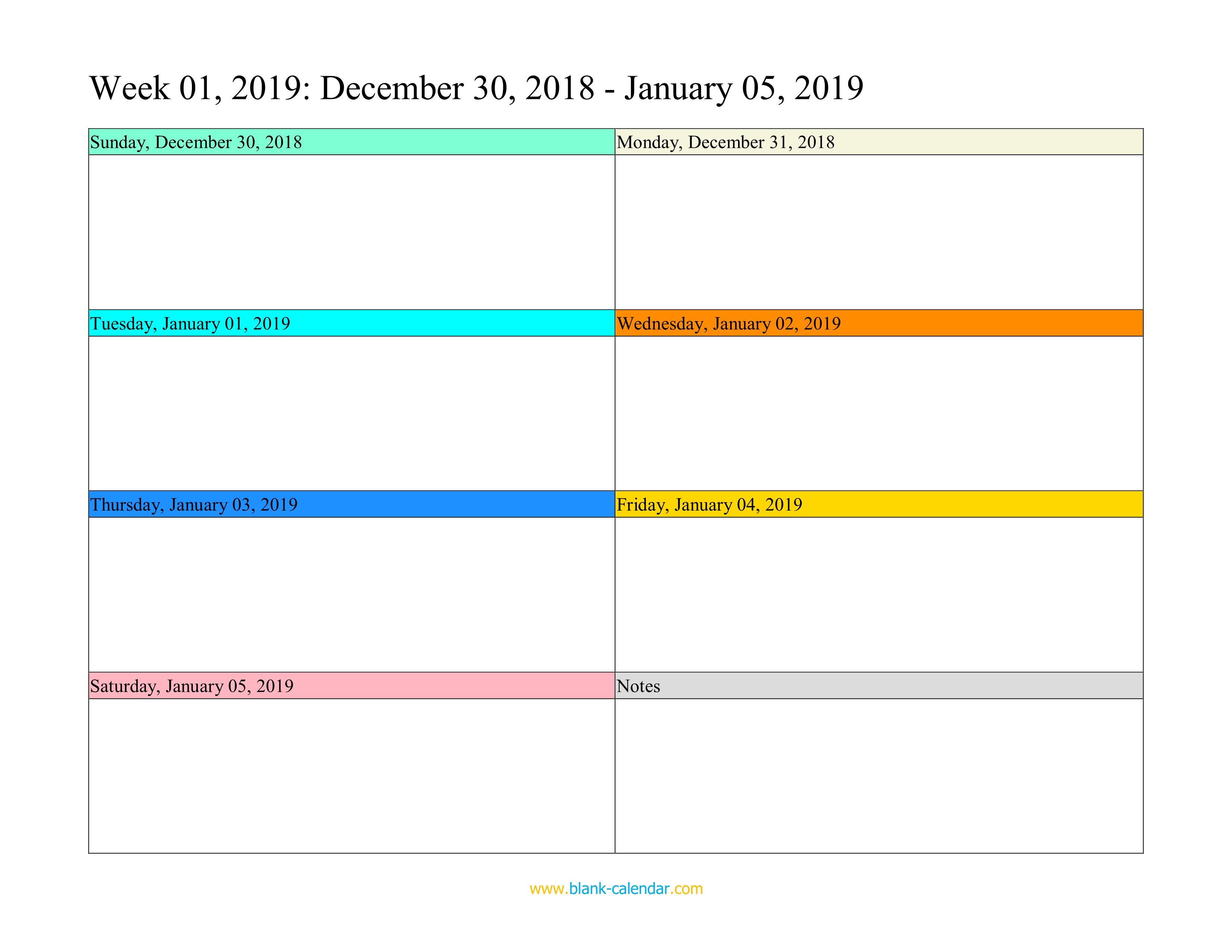 Weekly Calendar 2019 (Word, Excel, Pdf) regarding One Week Blank Calendar Printable
