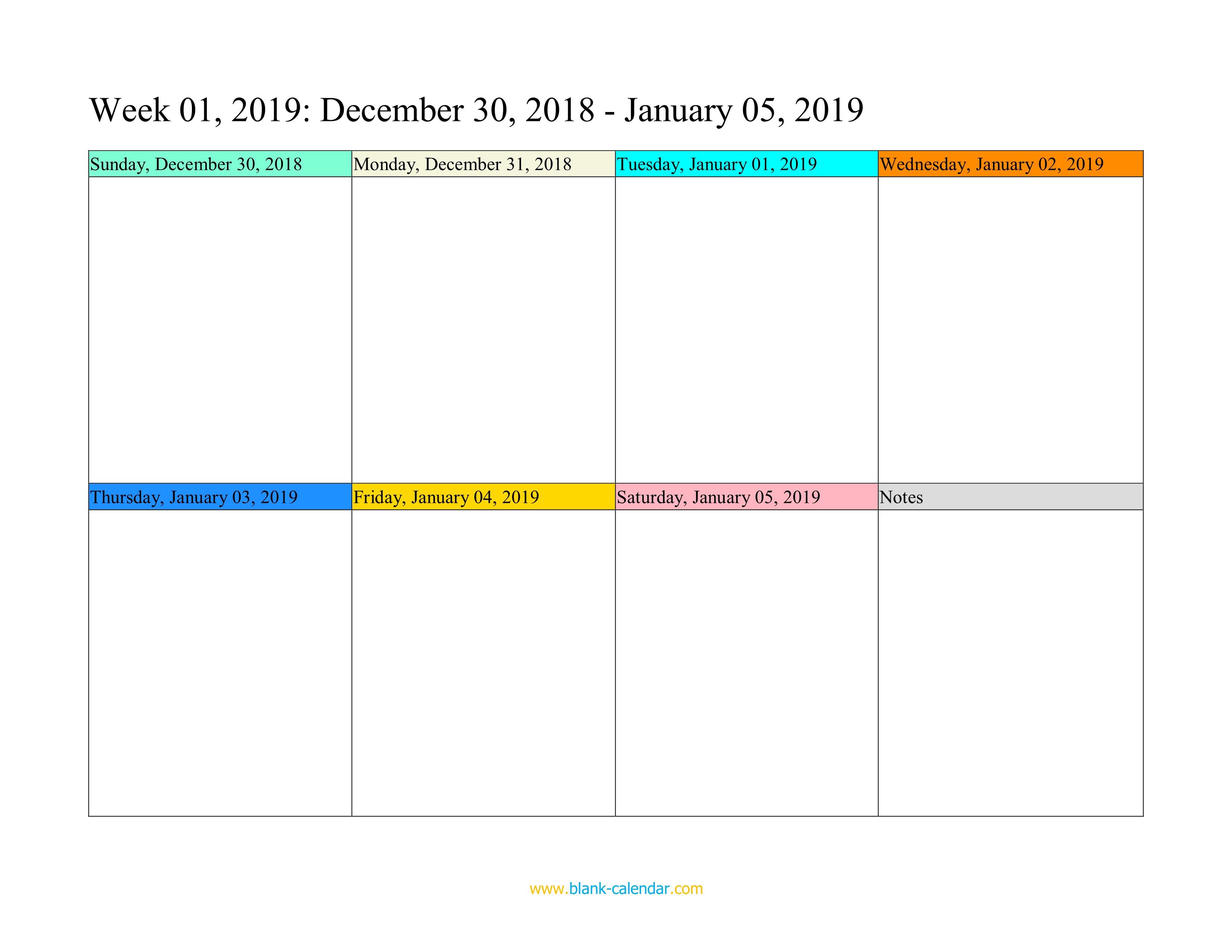 Weekly Calendar 2019 (Word, Excel, Pdf) within Printable Blank Calendar Week