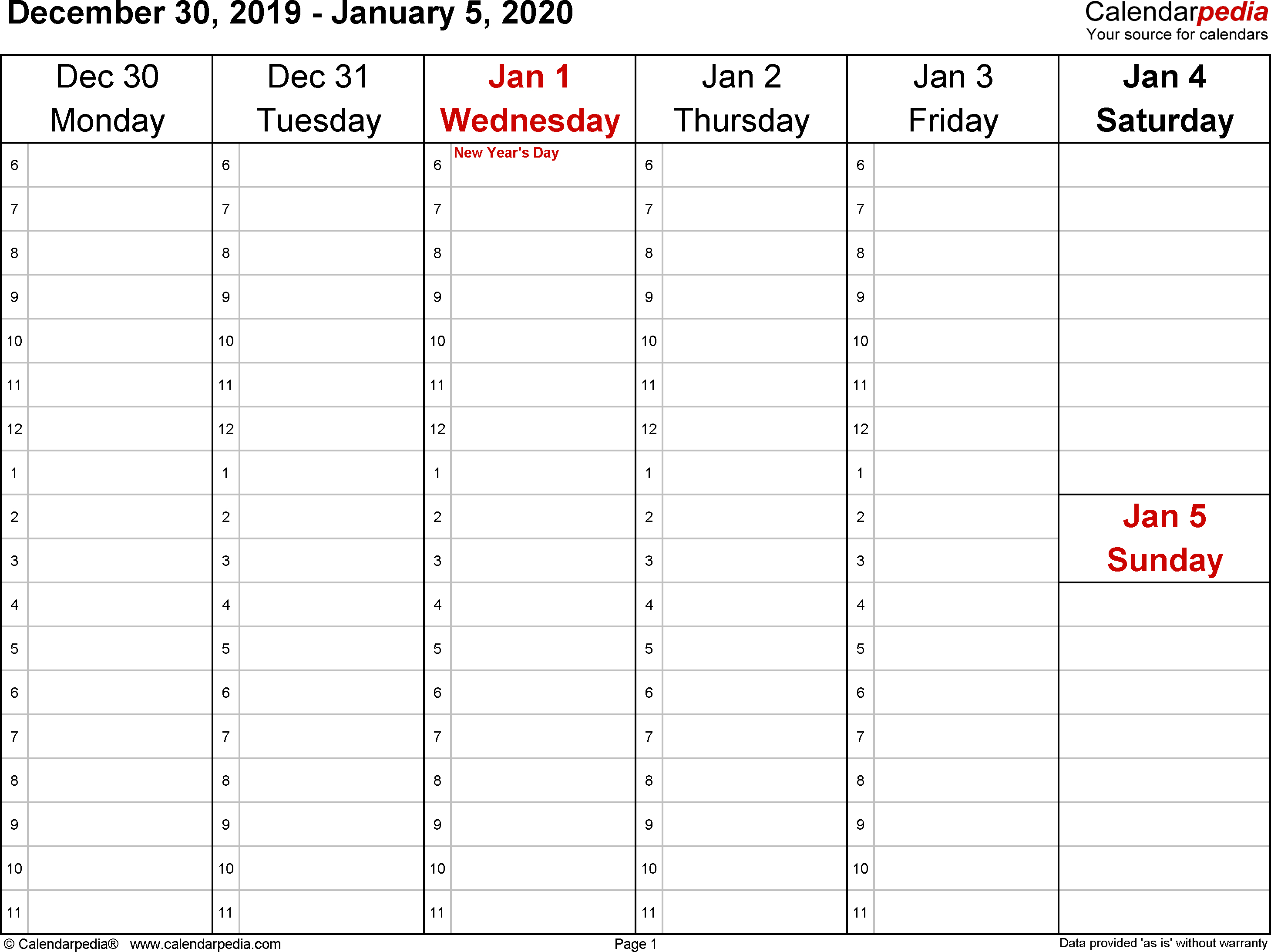 Weekly Calendar 2020 For Excel - 12 Free Printable Templates intended for 2020 Calendar Sunday To Saturday