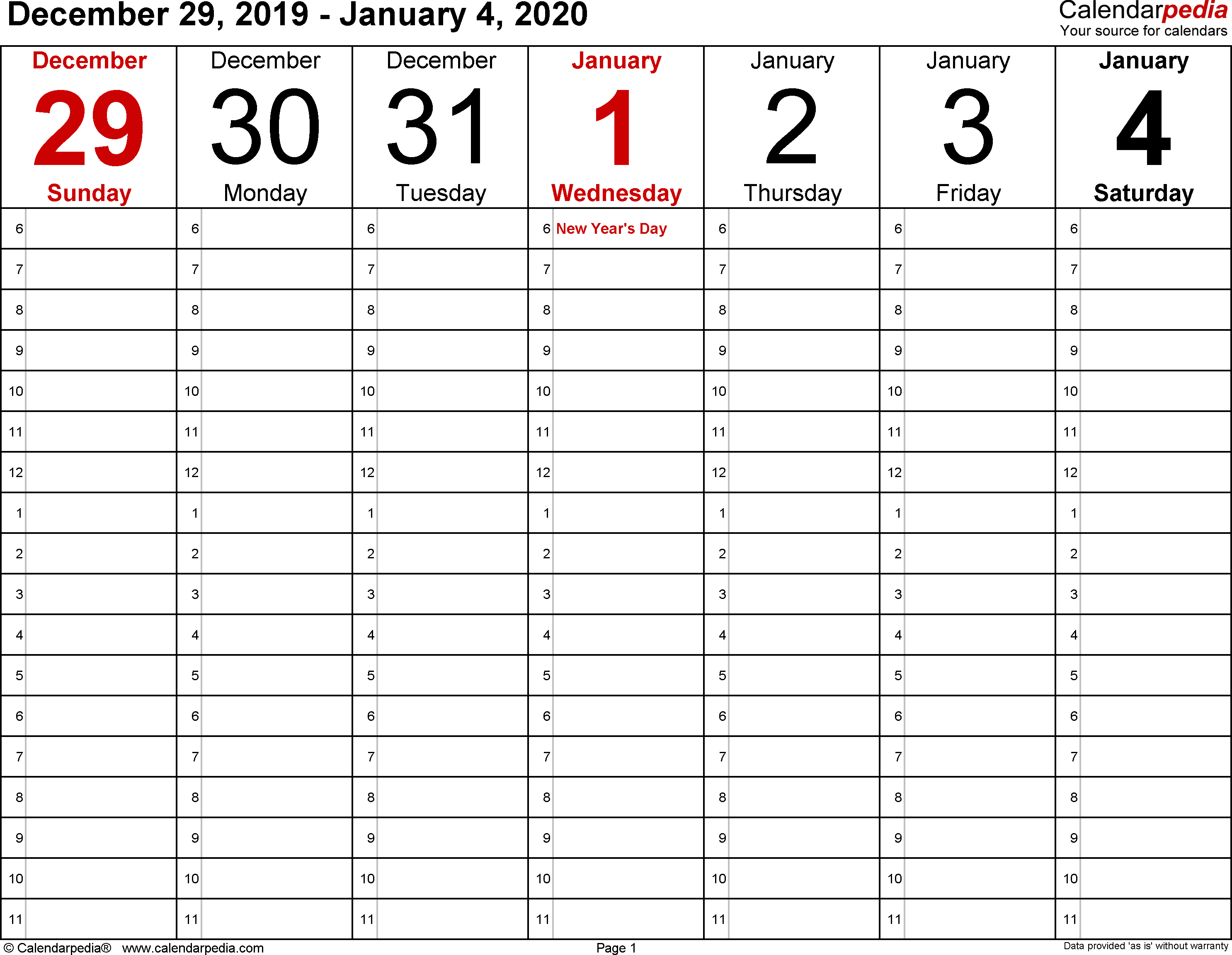 Weekly Calendar 2020 For Word - 12 Free Printable Templates in 2020 Free Printable Calendar Large Numbers