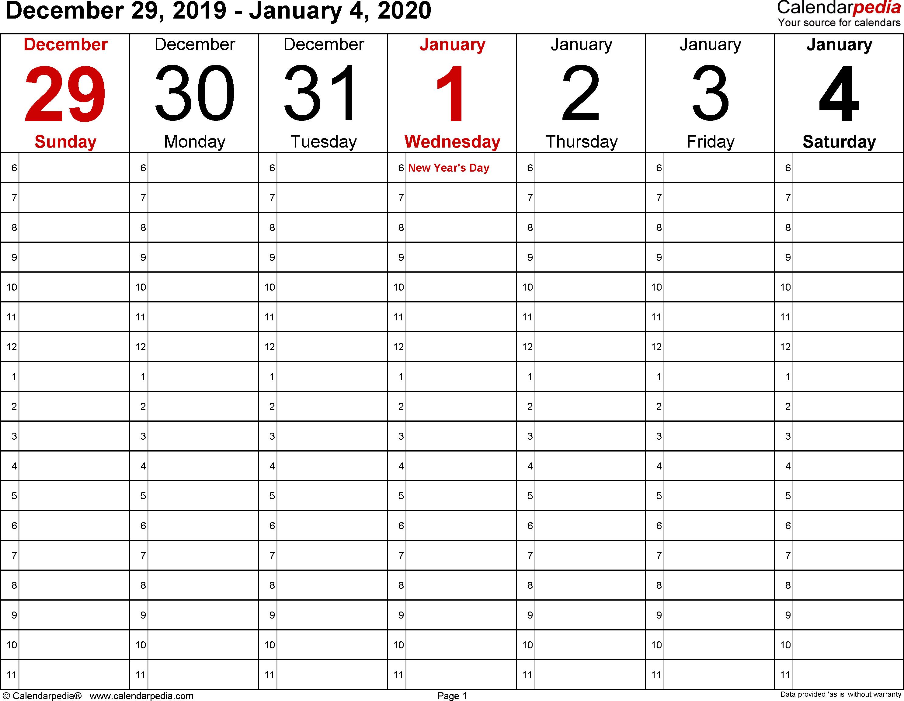 Weekly Calendar 2020 For Word - 12 Free Printable Templates with 2020 Free Printable Emploee Calendars