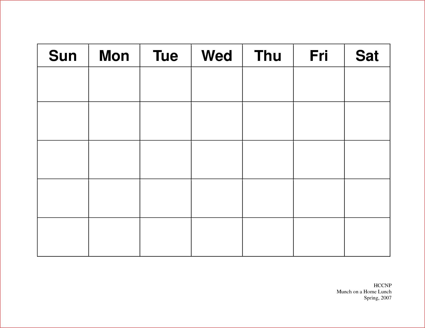 Weekly Calendar Blank Weekly Calendar Template 5 Day Printable inside 5 Day Blank Calendar