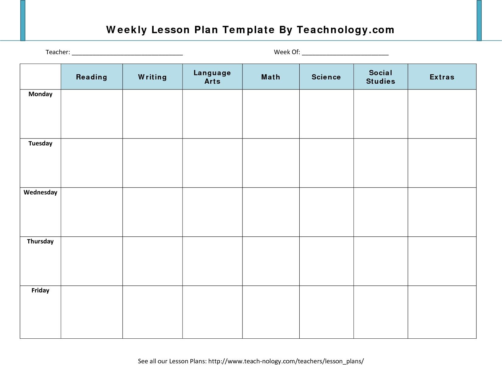 Weekly Calendar Lesson Plan Template   Jazz Gear regarding Weekly Calander Lesson Plan Template