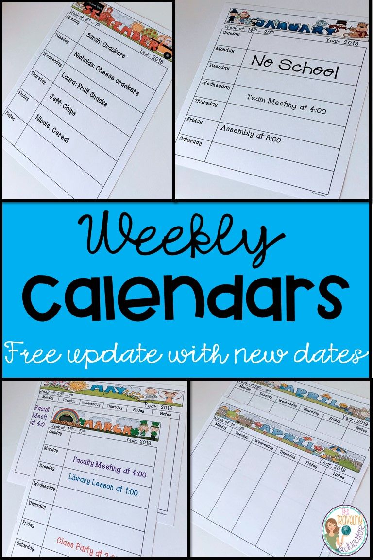 Weekly Calendar Template (Editable) | The Traveling Educator's with Cute Class Schedule Template 8 Class