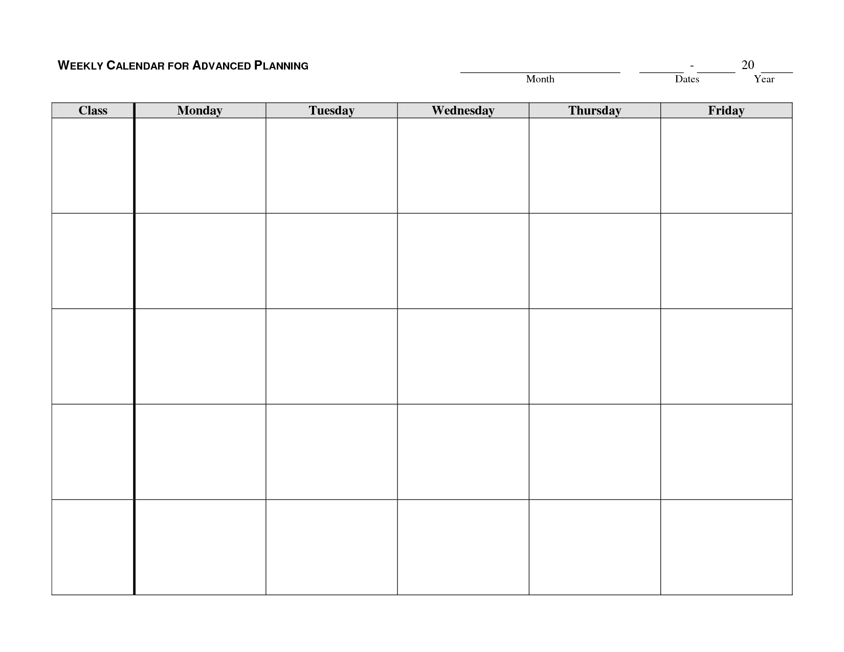 Weekly Calendar Template - Google Search | Autism/school | Weekly intended for Monday Through Friday Blank Calendar Printable