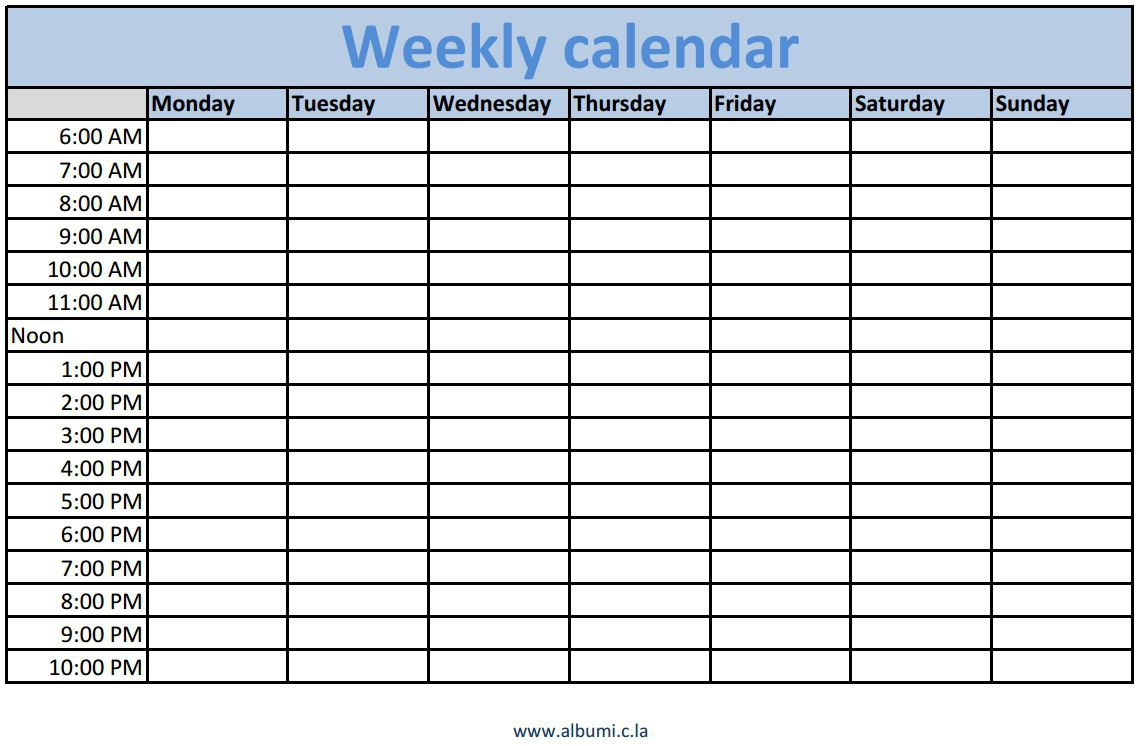 Weekly Calendar With Time Slots – Monthly Printable Calendar with regard to Blank Calendar With Time Slots