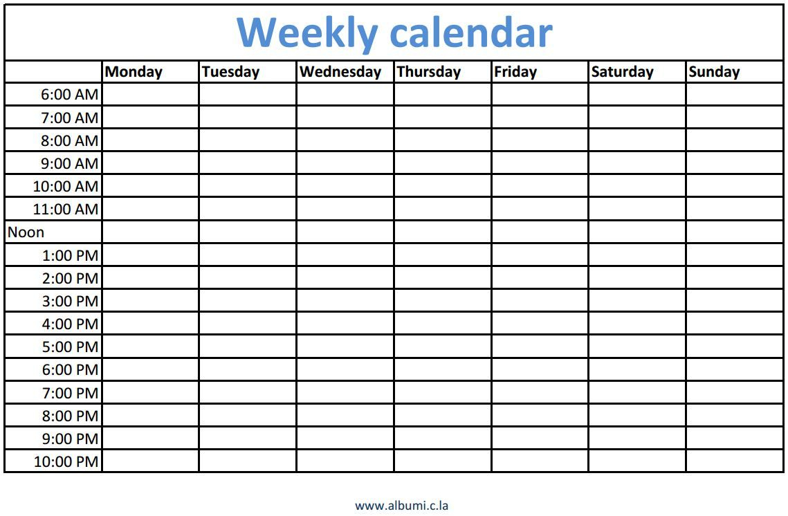 Weekly Calendars With Times Printable | Organize My Life | Weekly regarding Week Schedule Template With Times