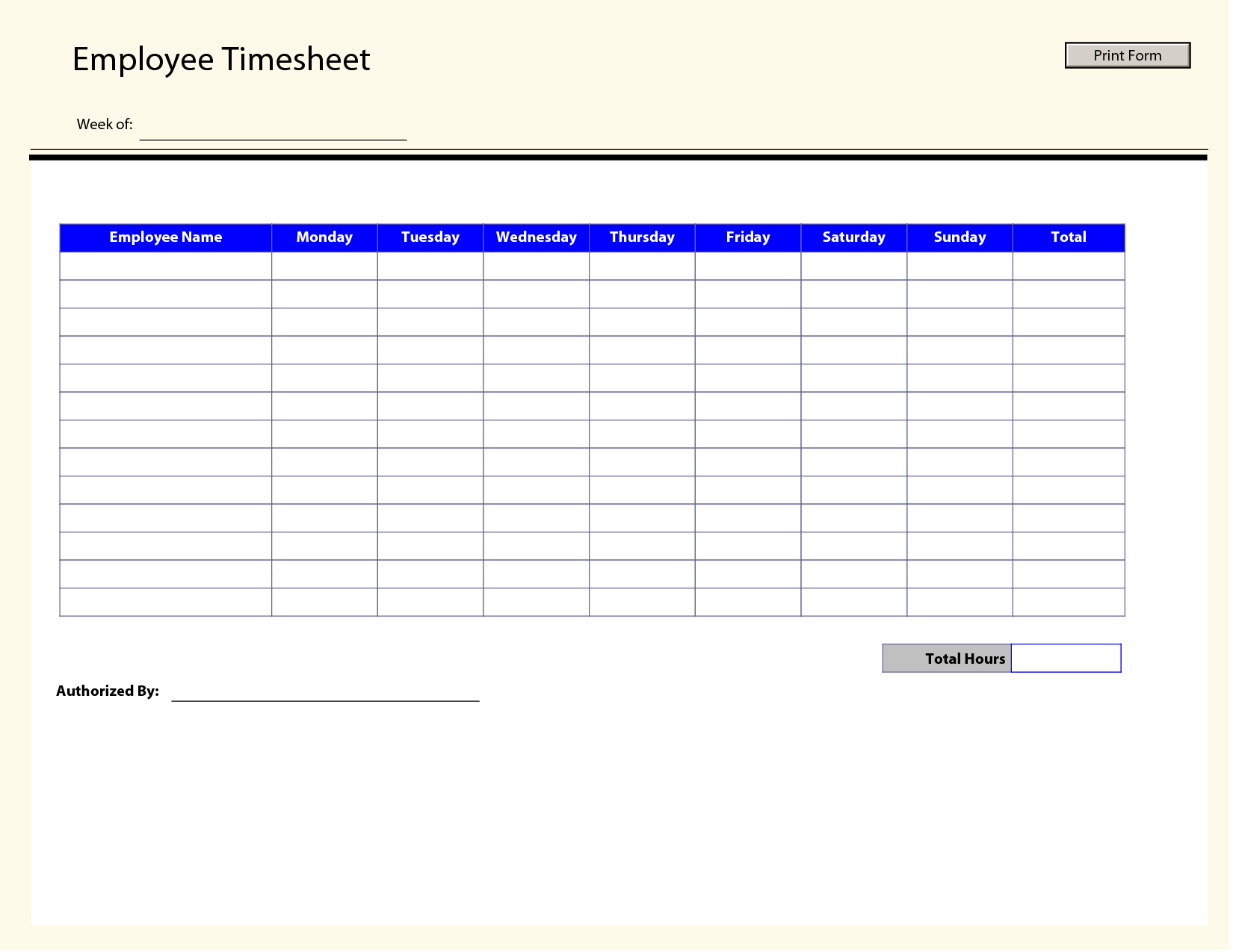 Weekly Employee Timesheet Template - Radiodignidad in Printable Blank Weekly Employee Schedule