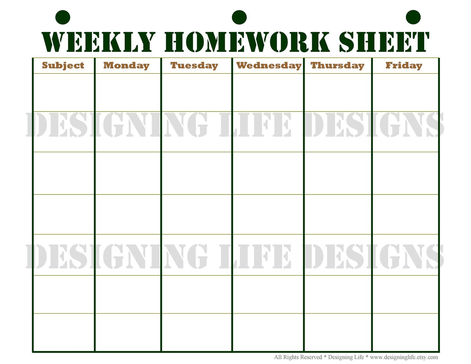Weekly Homework Sheet Template. Free Printable Daily Chore Chart within Cute Homework Schedule Template Printable