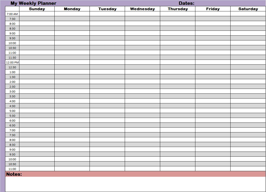 Weekly/hourly Time Management Sheet | Financial | Weekly Planner with regard to Blank Calendar Printable With Times