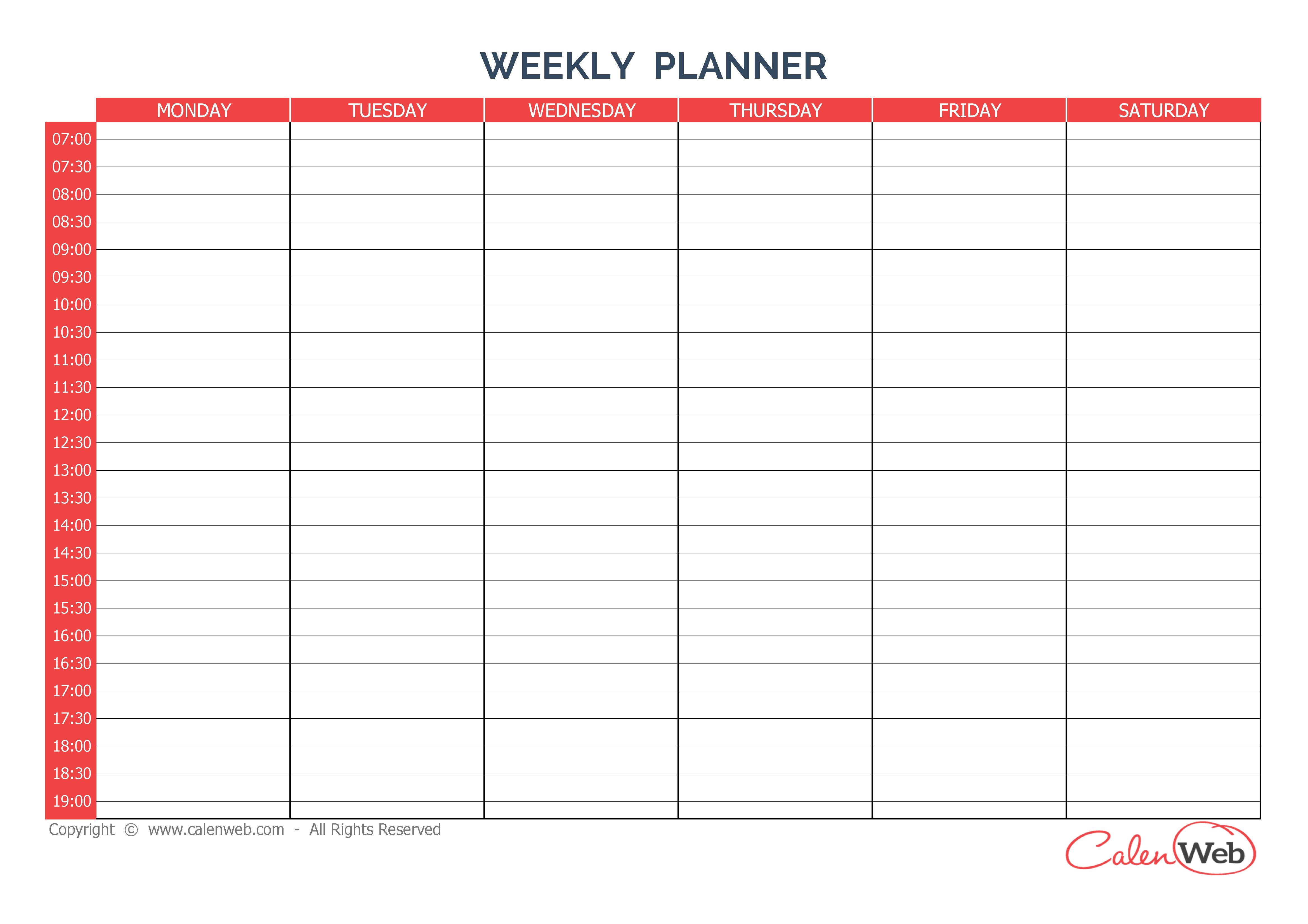 Weekly Planner 6 Days A Week Of 6 Days - Calenweb inside 7 Day Week Calendar Template