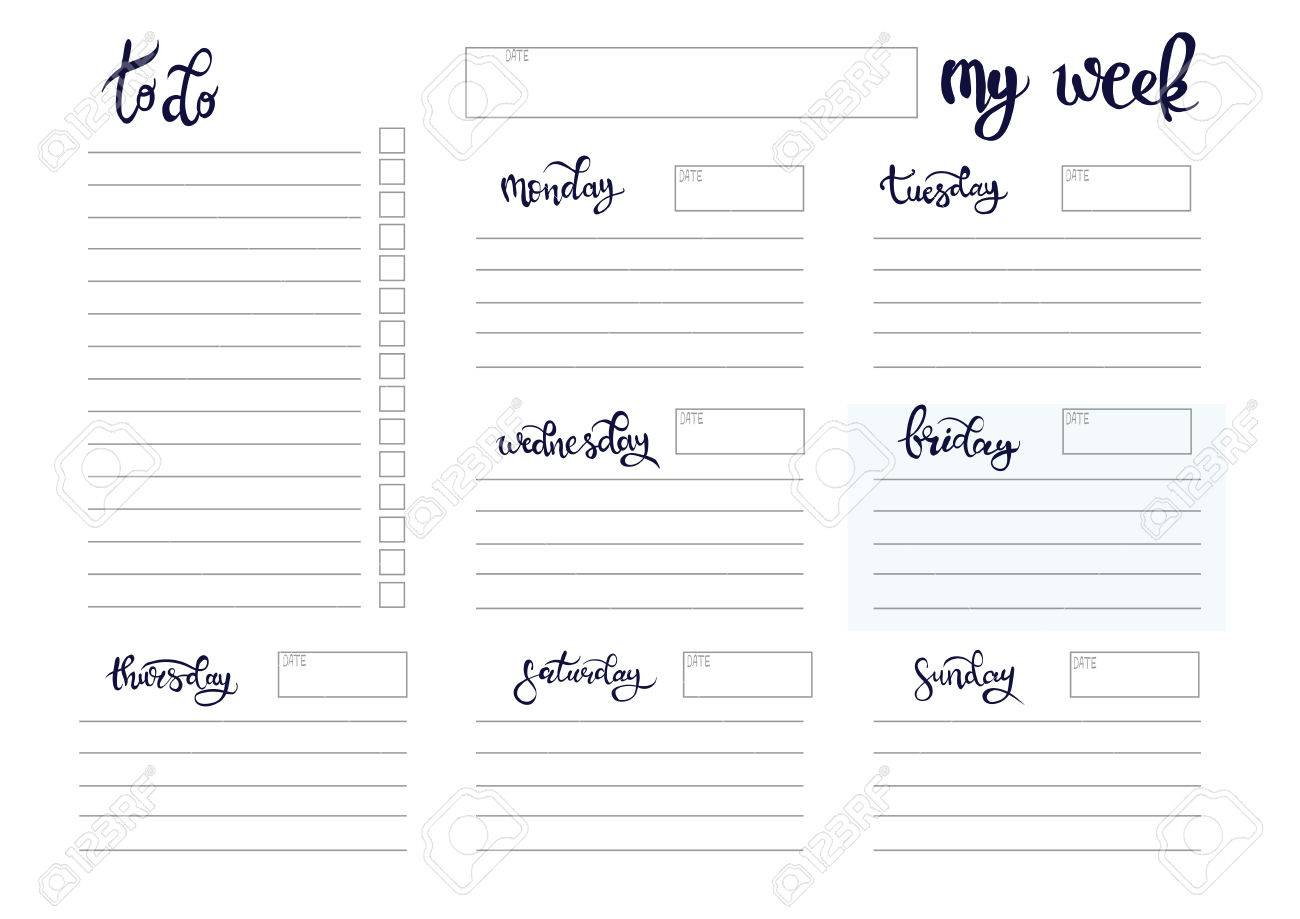 Weekly Planner Blank To Do Template Bullet Journal with Blank Planner Weekly Planner