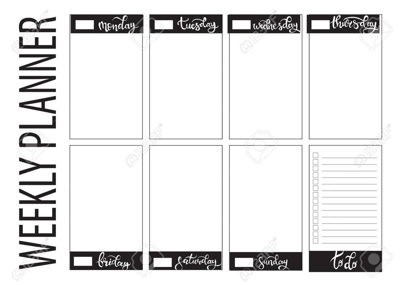 Weekly Planner Blank To Do Template Bullet Journal with regard to Blank Planner Weekly Planner