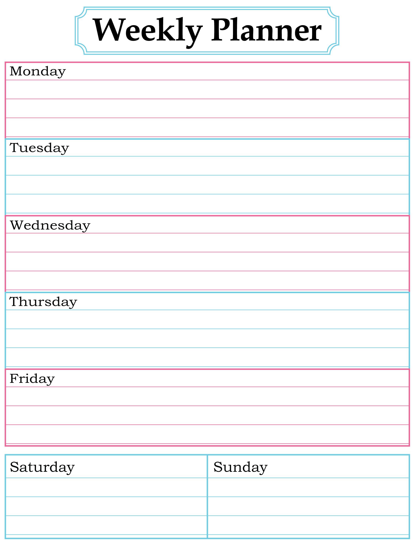 Weekly Planner Printable. Nice, Simple, Clean Lines.   School for Blank Weekly Calendar Print Outs