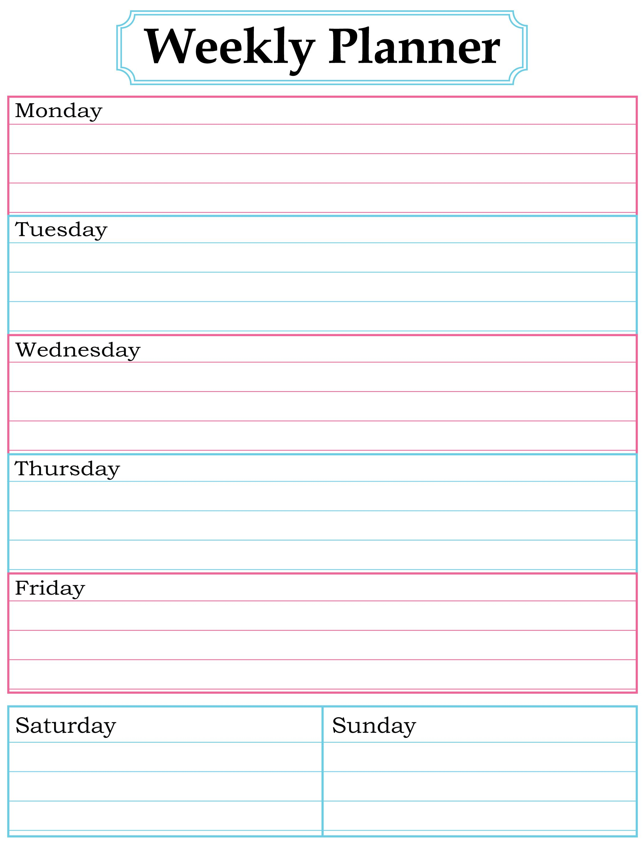 Weekly Planner Printable. Nice, Simple, Clean Lines.   School for Printable Blank Weekly Calendars Templates