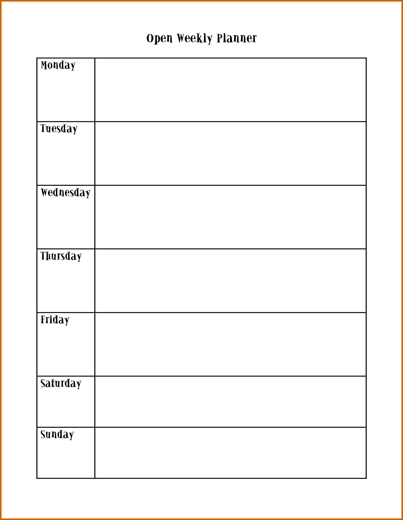 Weekly Planner Template Monday To Friday - Infer.ifreezer.co with Blank Weekly Monday Through Friday Calendar Template