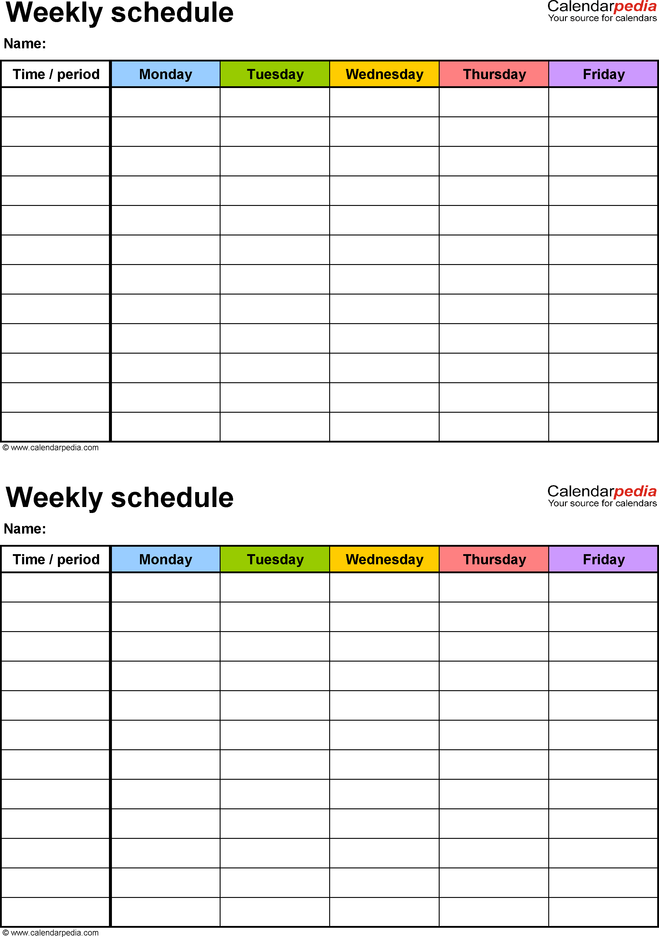 Weekly Schedule Template For Excel Version 3: 2 Schedules On One in Blank 5 Day School Timetable