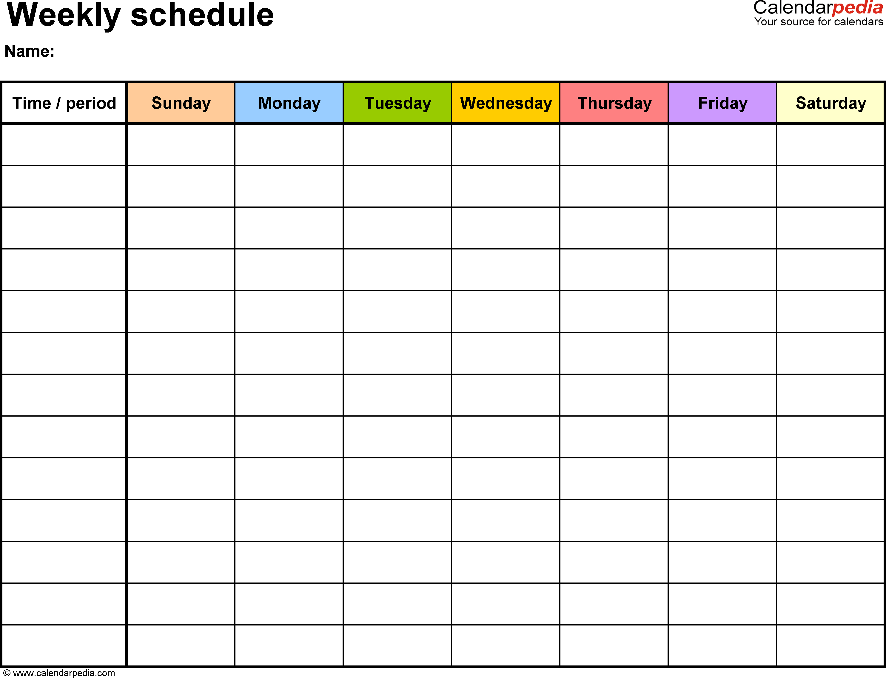 Weekly Schedule Template For Word Version 13: Landscape, 1 Page intended for 5 Day Week Blank Calendar With Time Slots Printable