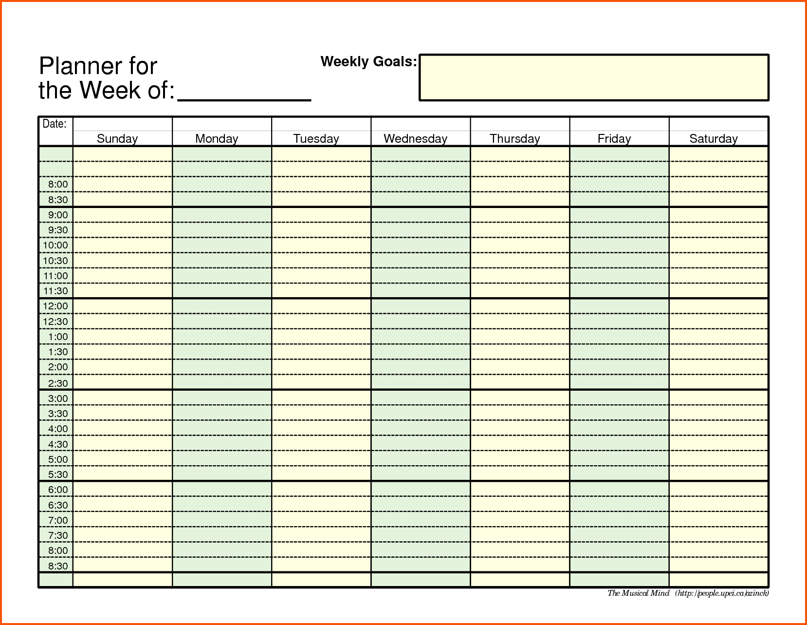 Weekly Schedule Template Ideas Calendar With Time Slots Free Smorad inside Weekly Schedule With Blank Time Slots
