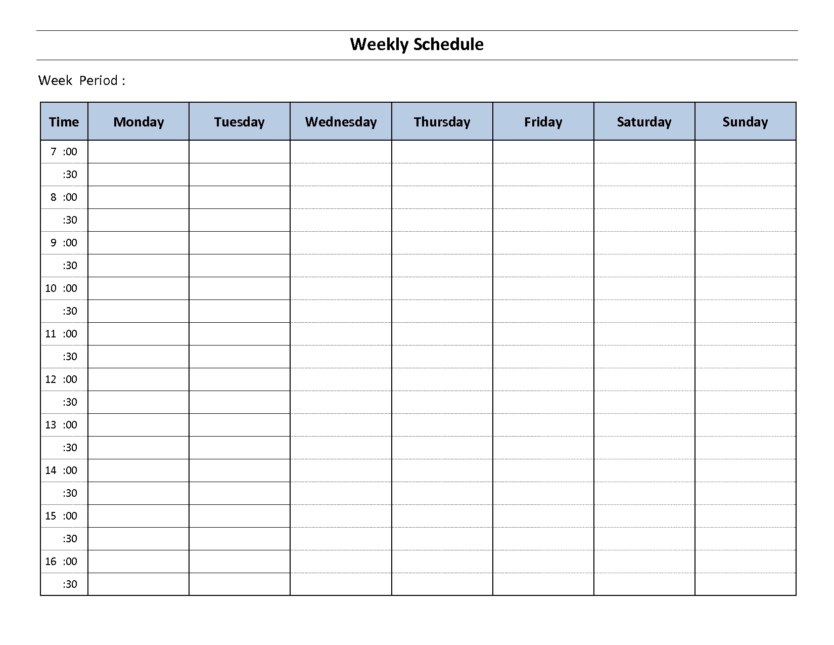 Weekly Schedule Template Sunday Thru Saturday Employee Ay To Friday pertaining to Monday Through Friday Schedule Template