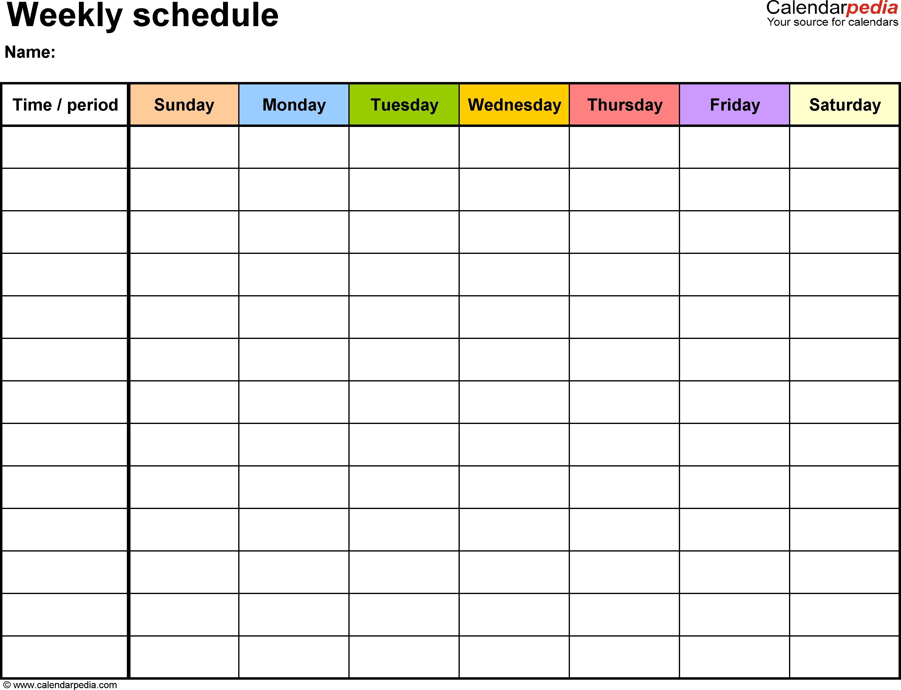 Weekly Schedule With Blank Time Slots | Calendar Printing Example regarding Blank Calendar With Time Slots