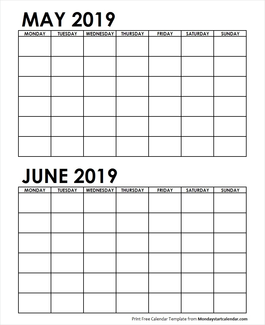 Well Done 2 Month May June 2019 Calender Printable * Calendar for 2 Month Calendar Template Printable