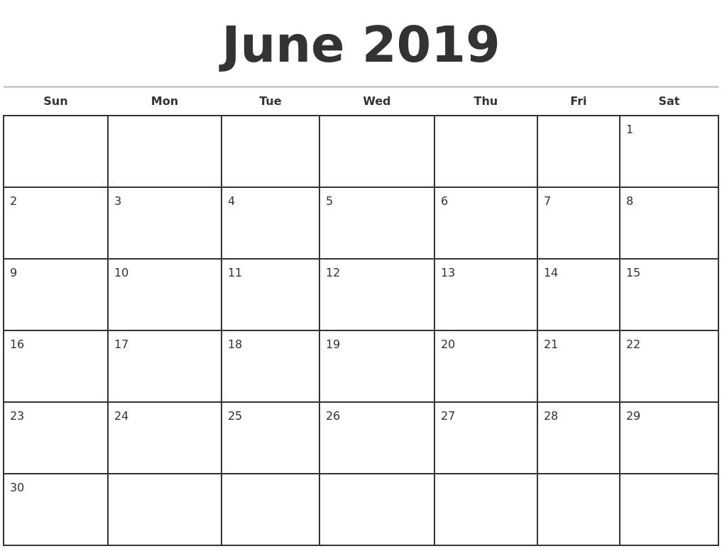 Well Done Printable Calendar June 2019 Win Pdf * Calendar Template in Calendar Template Fillable Pdf