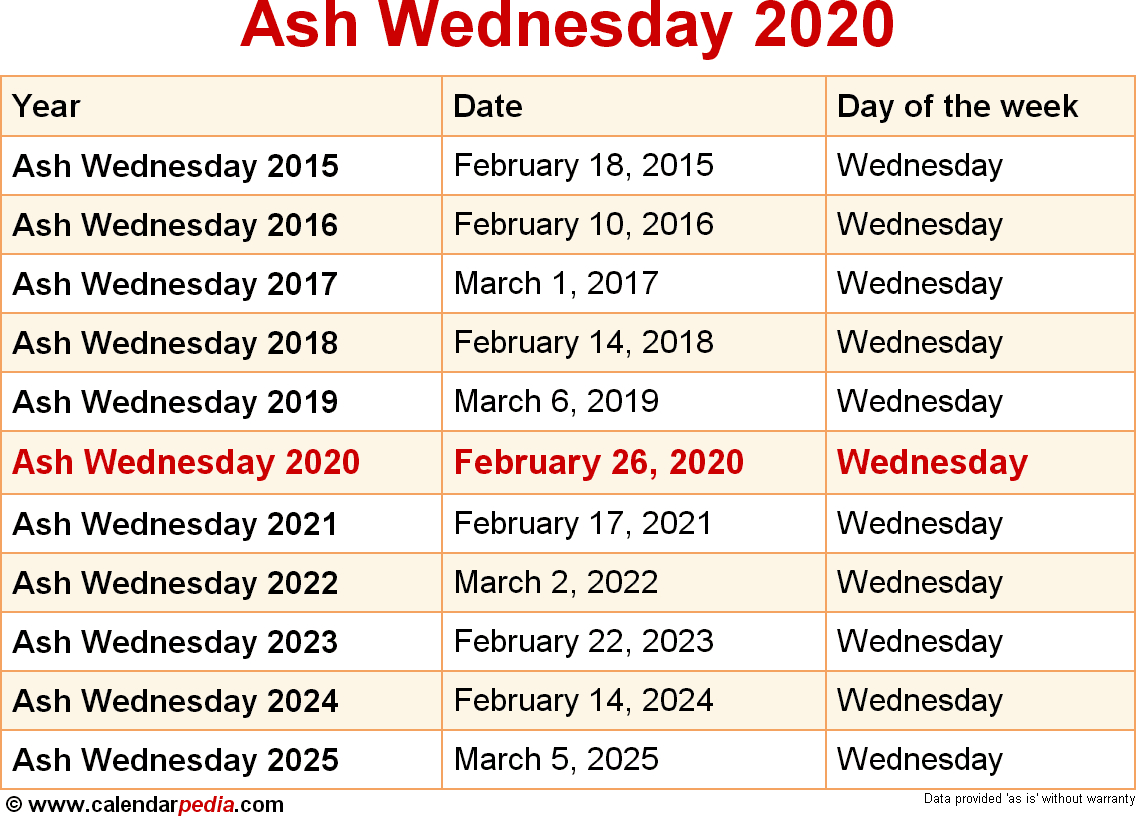 When Is Ash Wednesday 2020 & 2021? Dates Of Ash Wednesday with regard to Free Catholic Liturgical Calendar For 2020