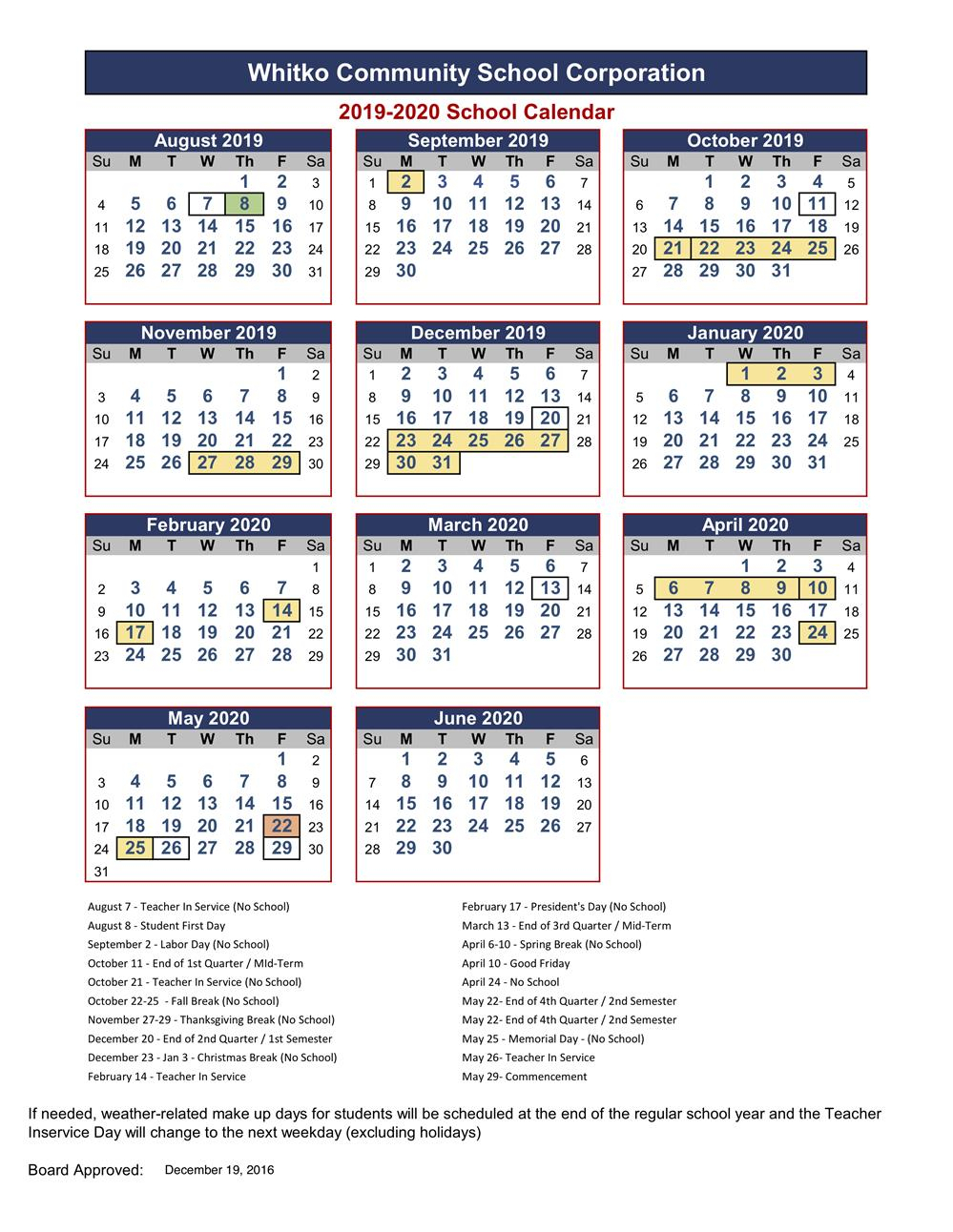 Whitko Community School Corp / Calendar in How To Create A Jweish Calender In One Page For 2019-2020