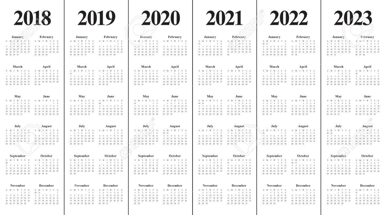 Year 2018 2019 2020 2021 2022 2023 Calendar Vector Design Template,.. throughout Free Prinable Calenders 2020 To 2023