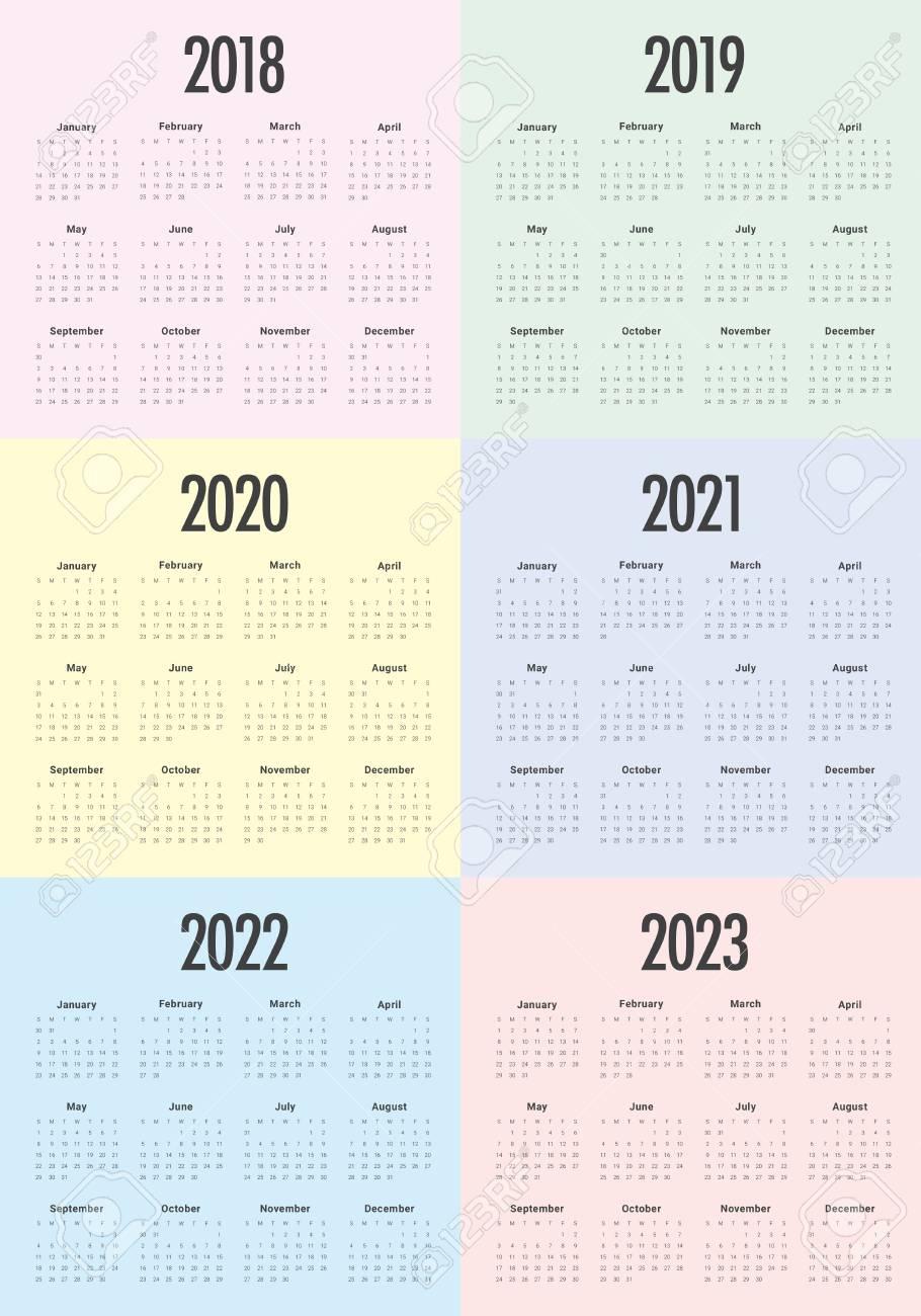 Year 2018 2019 2020 2021 2022 2023 Calendar Vector Design Template,.. with Print 2019 2020 2021 2022 2023 Calender