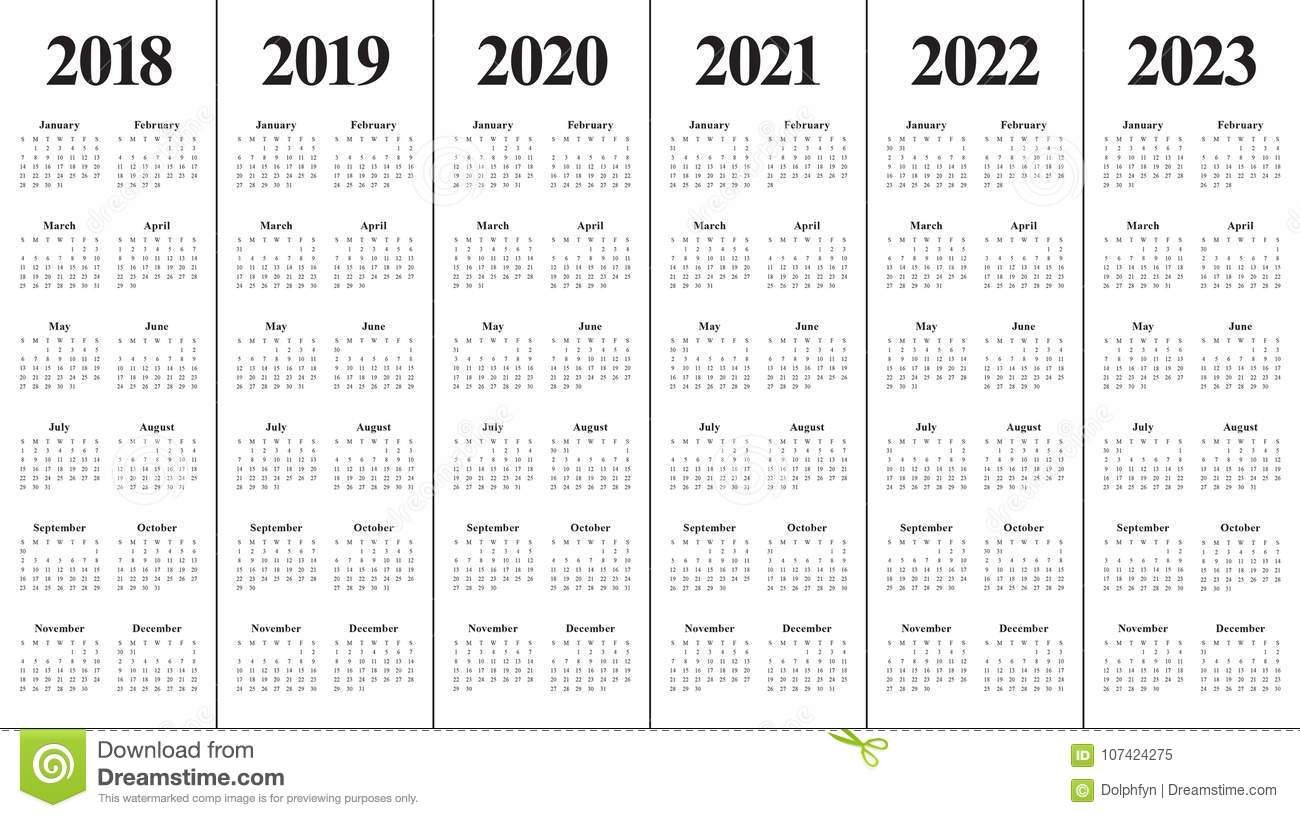Year 2018 2019 2020 2021 2022 2023 Calendar Vector Stock Vector inside Free Prinable Calenders 2020 To 2023