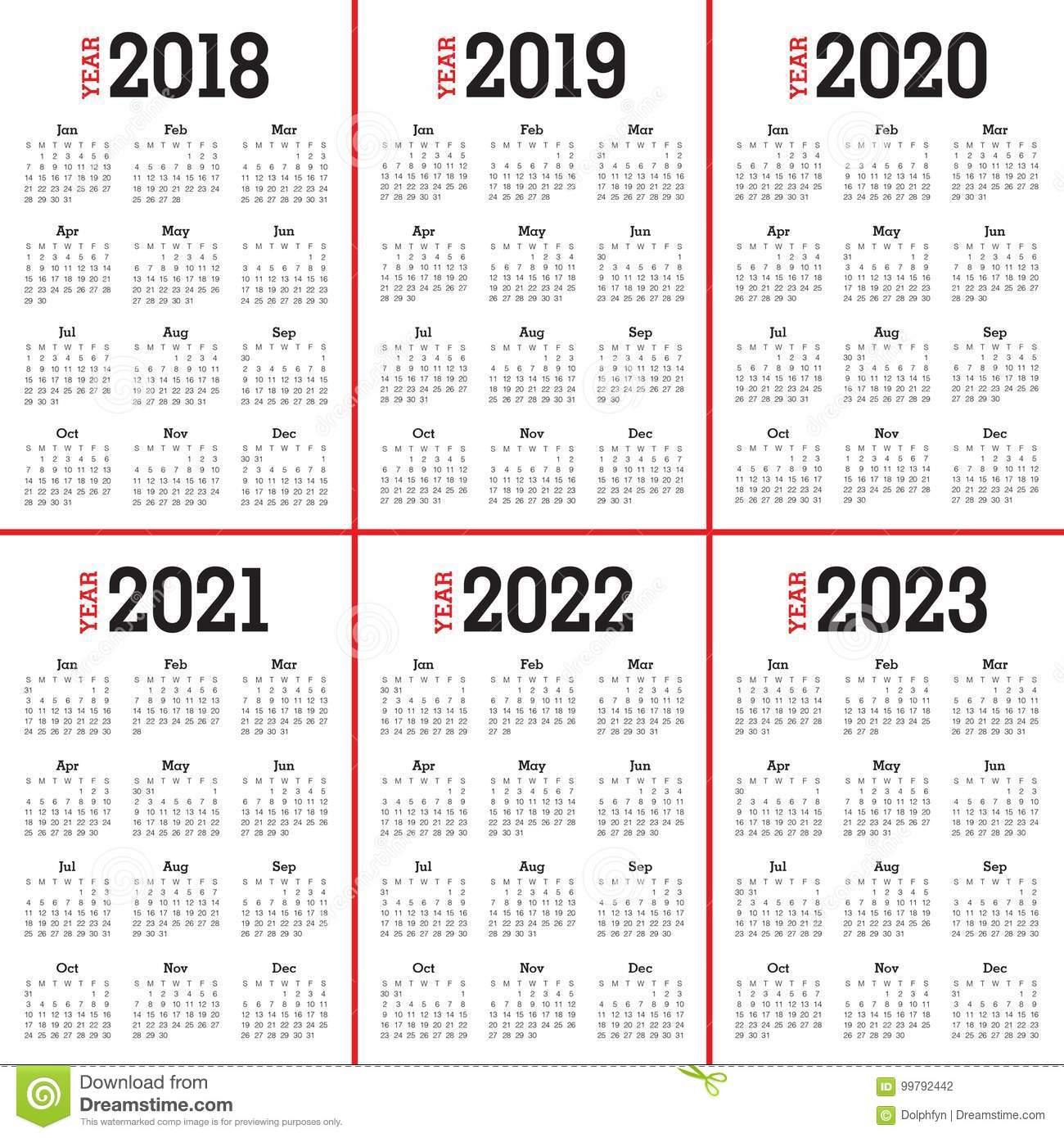 Year 2018 2019 2020 2021 2022 2023 Calendar Vector Stock Vector regarding Free Prinable Calenders 2020 To 2023
