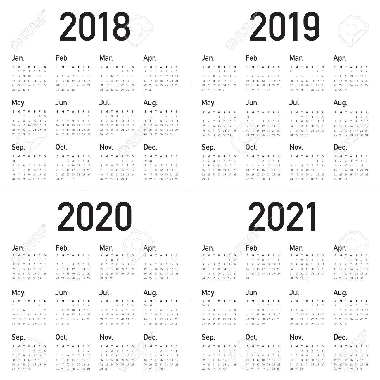 Year 2018 2019 2020 2021 Calendar Vector Design Template, Simple.. inside Calendar 2019 2020 With Boxes