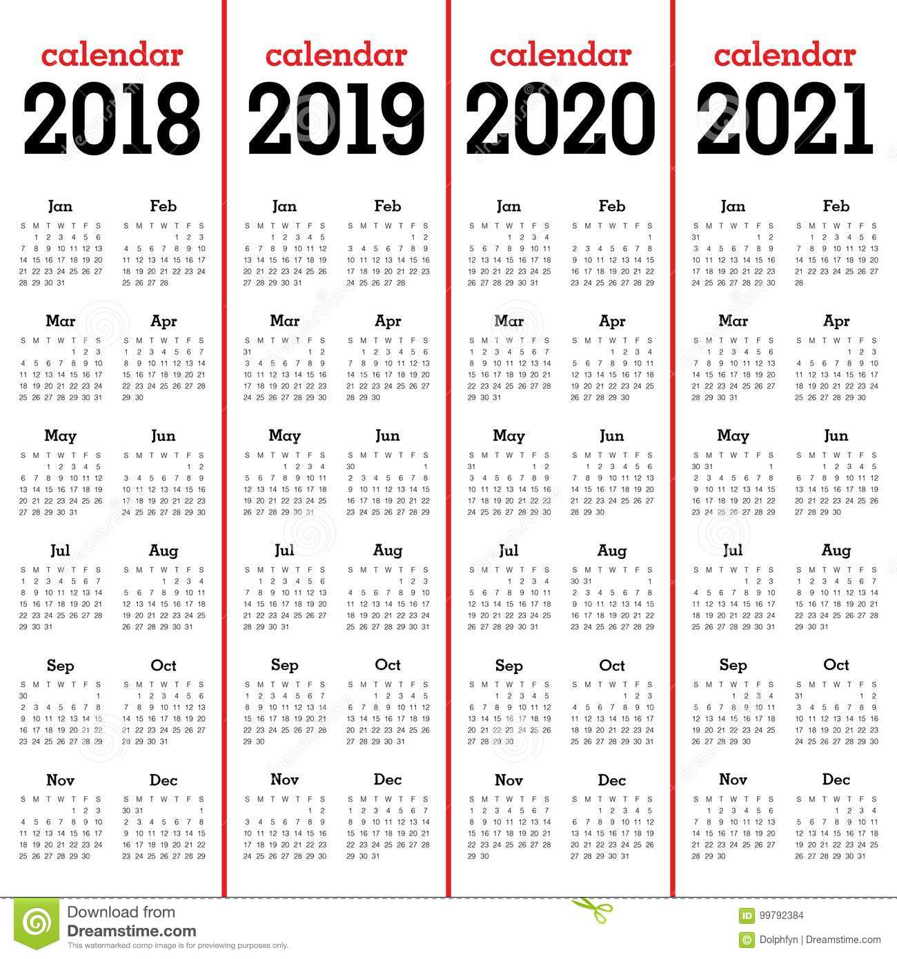 Year 2018 2019 2020 2021 Calendar Vector Stock Vector - Illustration pertaining to Calendar Yearly 2019 2020 2021