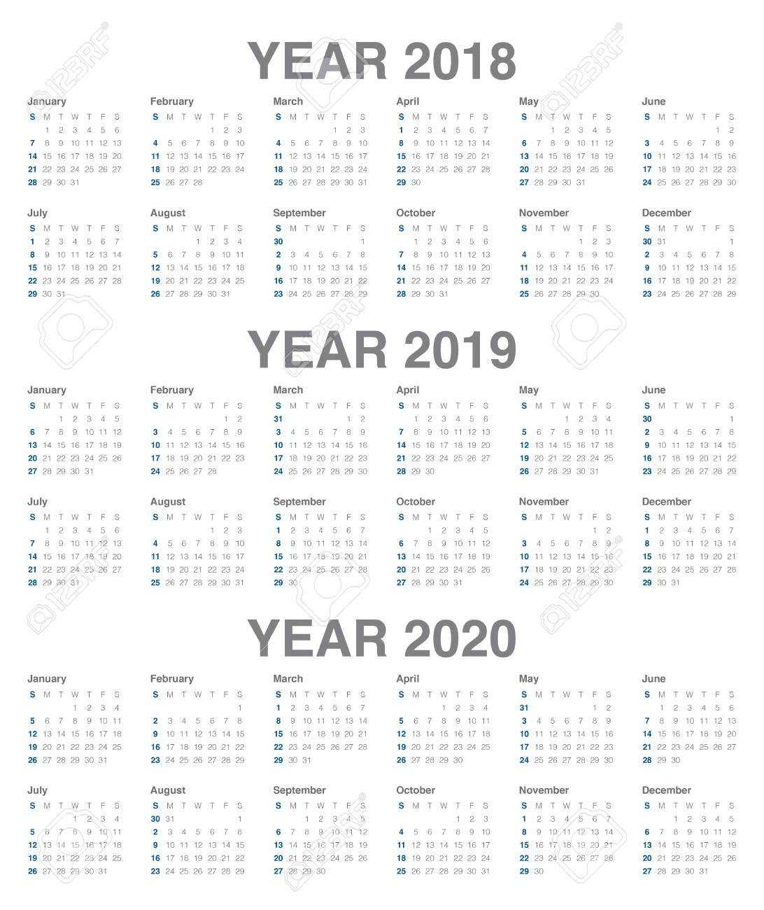 Year 2018 2019 2020 Calendar Simple And Clean Design Template within 3 Year Calendar Printable 2018 2019 2020
