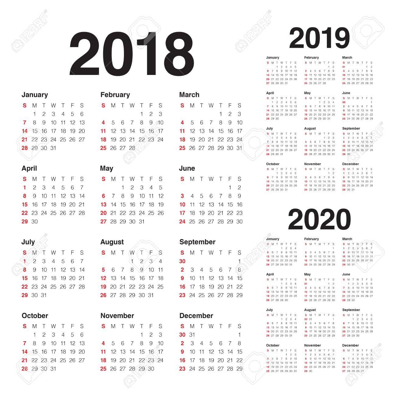 Year 2018 2019 2020 Calendar Vector Design Template, Simple And.. with Edit Free Calendar Template 2019-2020