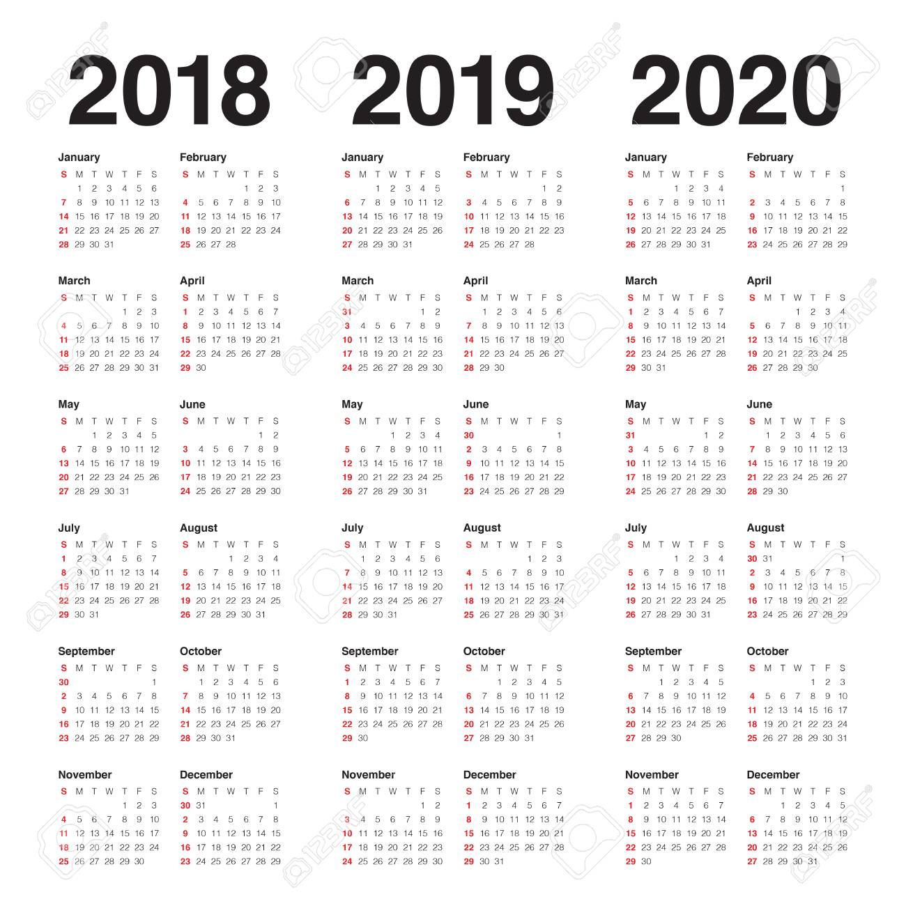 Year 2018 2019 2020 Calendar Vector Design Template, Simple And.. with regard to 3 Year Calendar Printable 2018 2019 2020