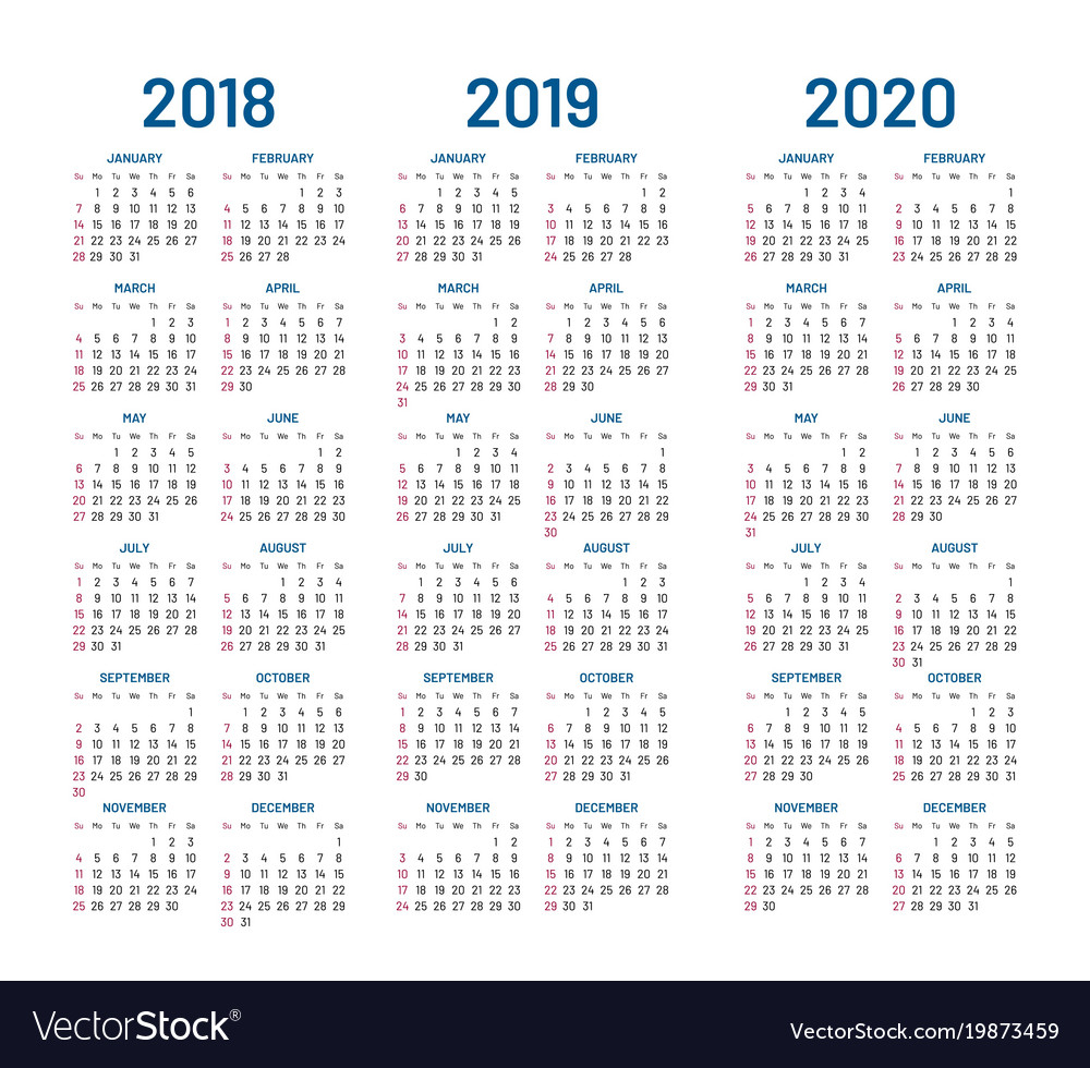 Year 2018 2019 2020 Calendar with 3 Year Calendar Printable 2018 2019 2020